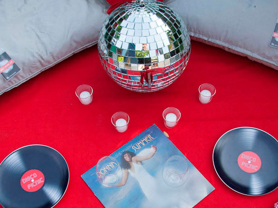 """DIFFA """"DISCO PICNIC"""" One-of-a-kind picnic basket designed for Design Industries Foundation for Fighting AIDS event."""