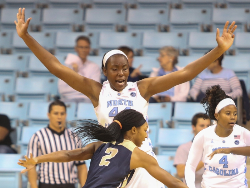 The Tar Heels' defense was improved with Janelle Bailey (44) patrolling the paint.