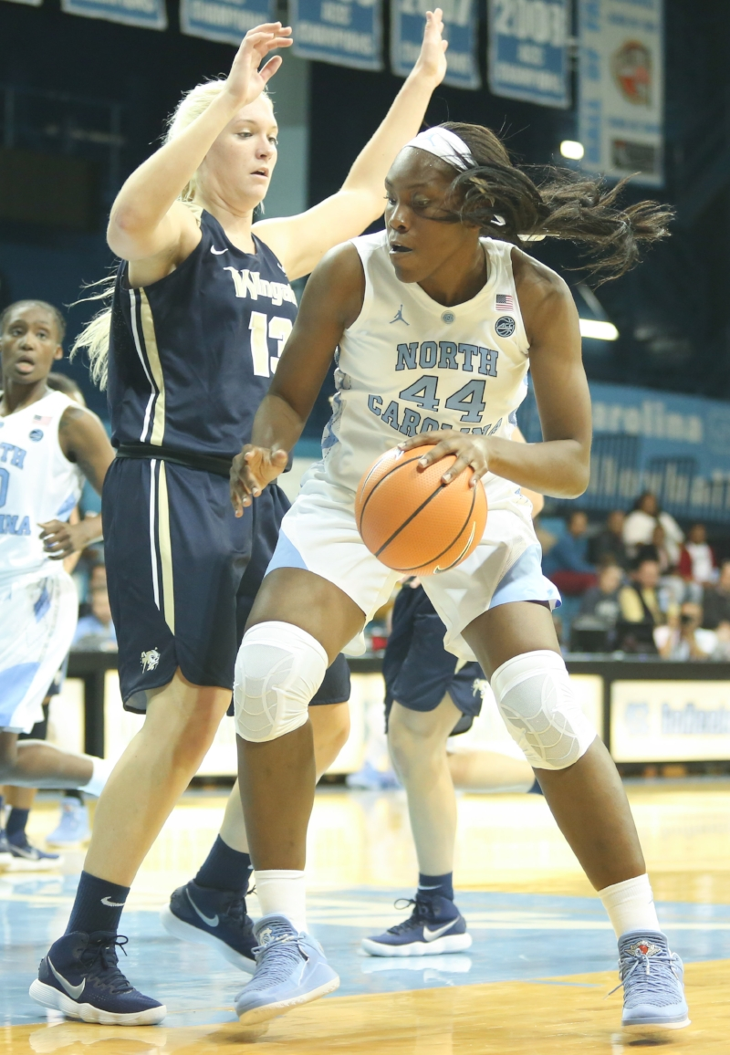 Freshman Janelle Bailey (44) attacked the post early and often on Wednesday.