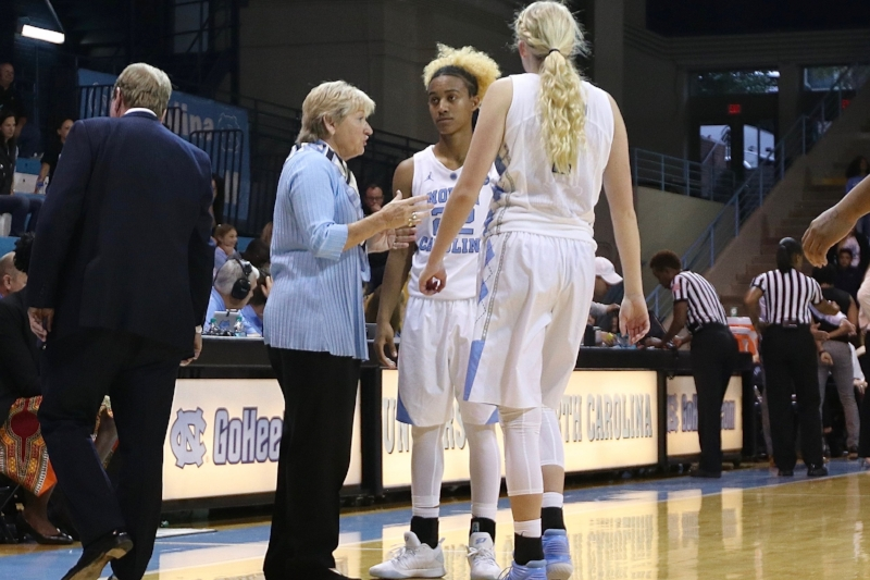 North Carolina head coach Sylvia Hatchell (left) talks to guards Paris Kea (22) and Taylor Koenen (1) during a timeout early in the season.