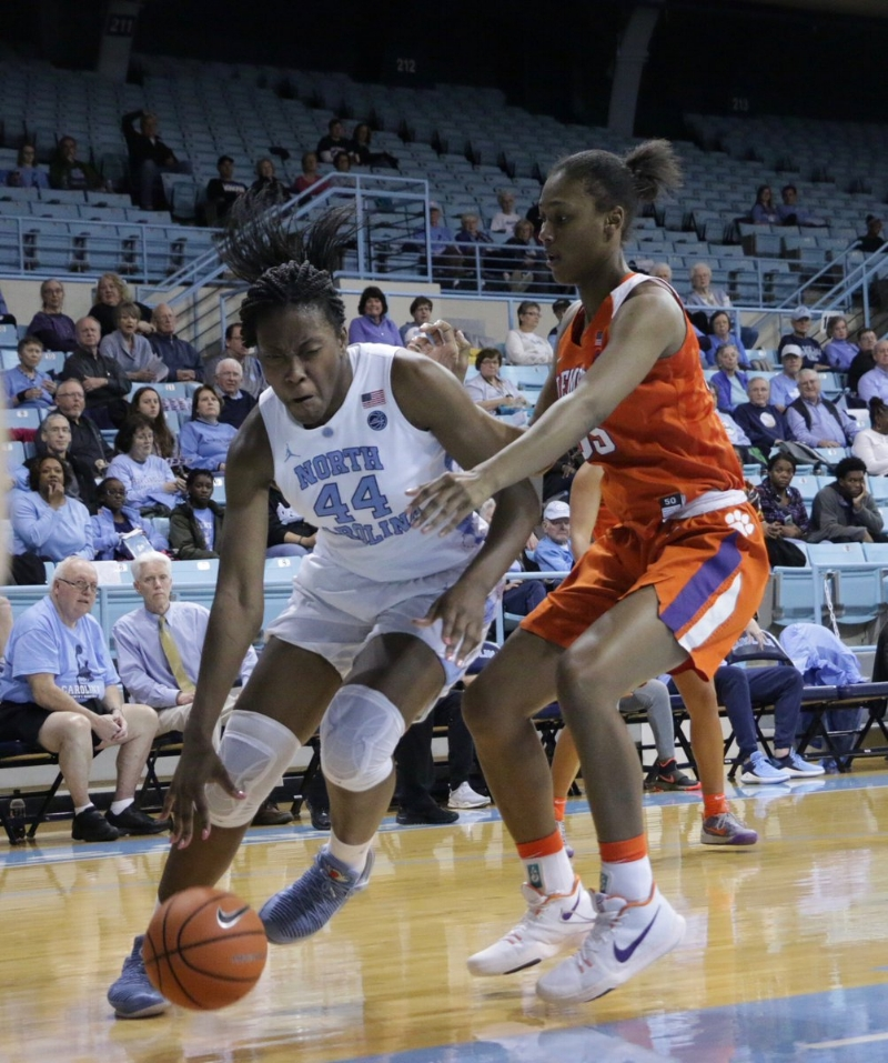 Janelle Bailey (44) finished the game 5-for-10 from the field, joining Olivia Smith (1-for-2) as the only Tar Heels to shoot at least 50 percent.