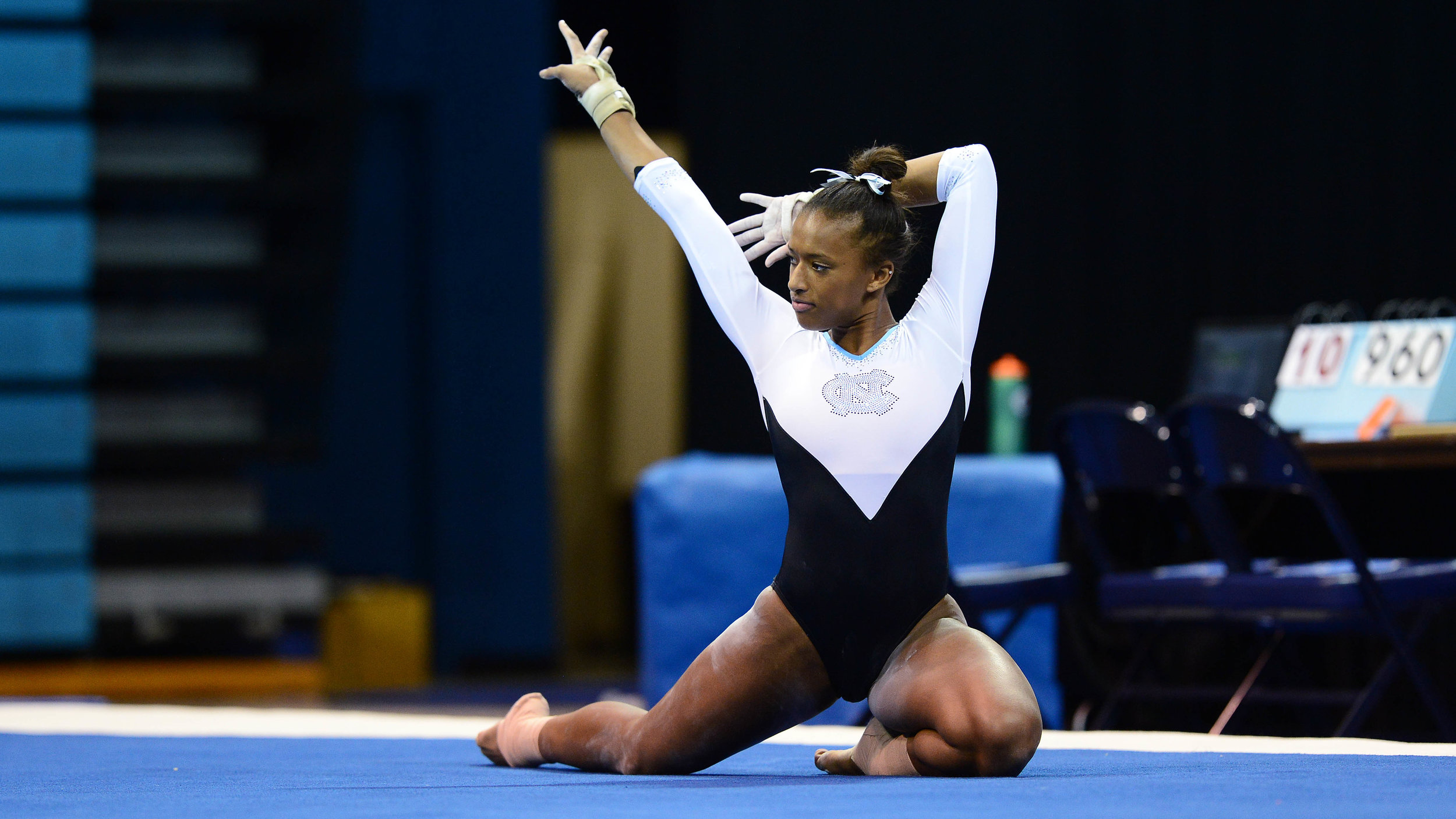 Sophomore Khazia Hislop earned scores of 9.825, 9.850 and 9.800 on the vault, beam and floor, respectively. Hislop scored a 9.95 last weekend on the floor, earning a perfect 10 from a judge   Photo by Jeffrey Camarati