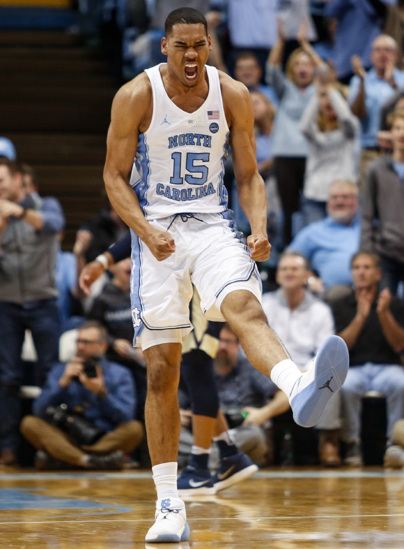 Garrison Brooks (15) and Sterling Manley (not pictured) each scored 10 points off the bench, giving the freshmen big men more points than Pittsburgh's bench combined. | Photo by Alex Kormann