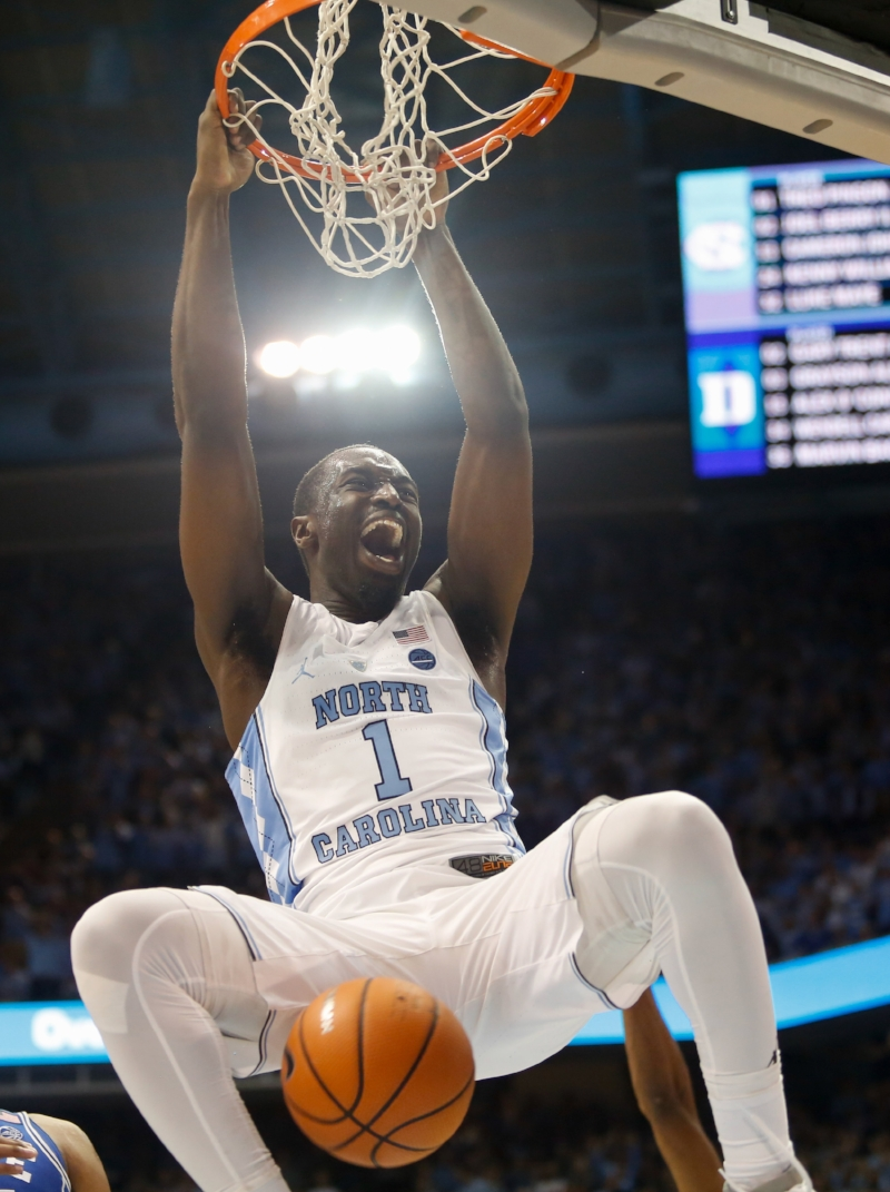 The final dunk from Theo Pinson (1) was the exclamation on UNC's wild win Thursday over Duke. | Photo by Alex Kormann