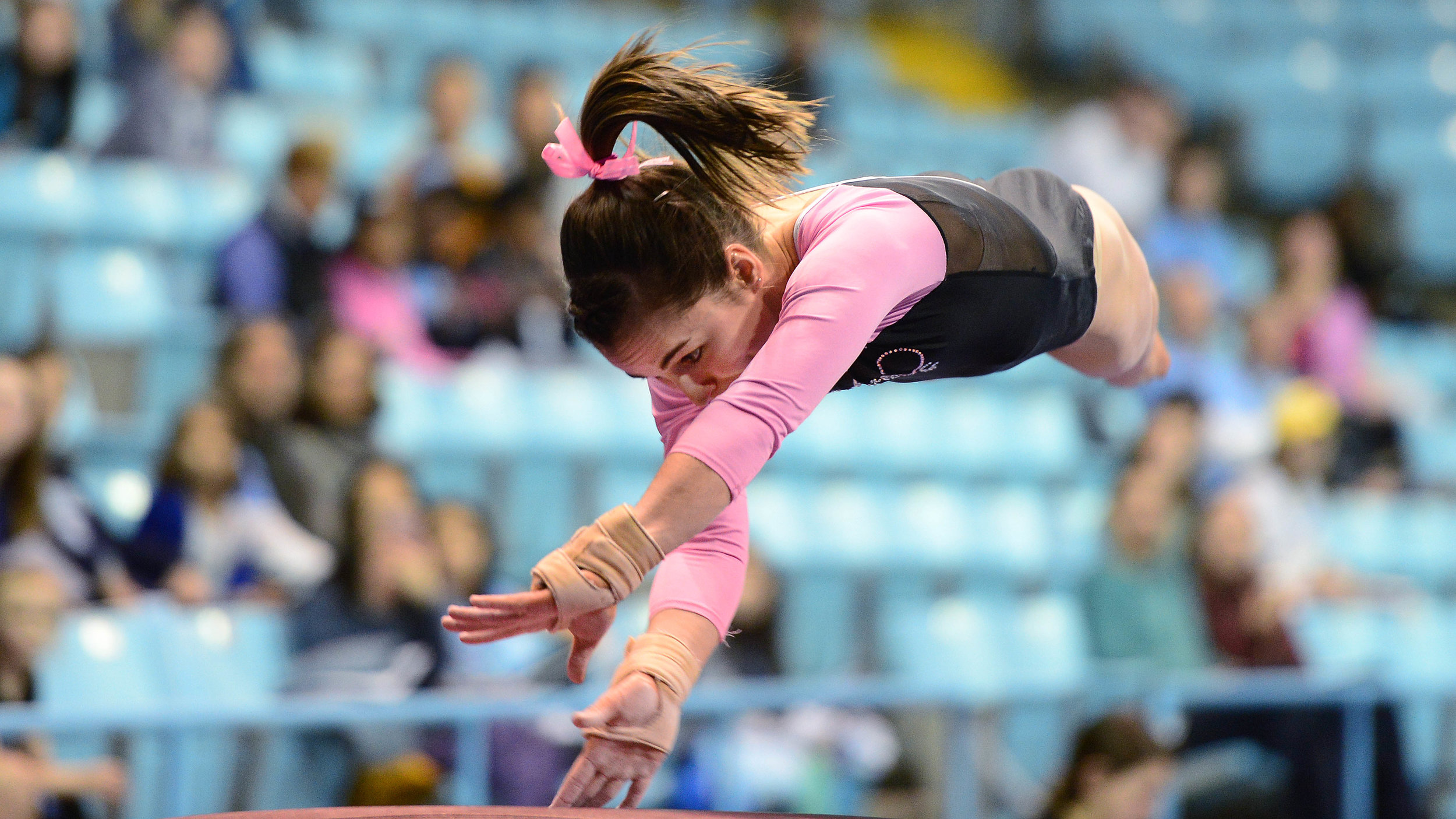 UNC gymnast Morgan Lane was the meet's only all-around competitor, scoring a 39.175 out of a perfect 40 on the day. The senior from Indiana placed in three of the four rotations | Photo courtest Jeffrey A. Camarati (UNC Athletic Communications)