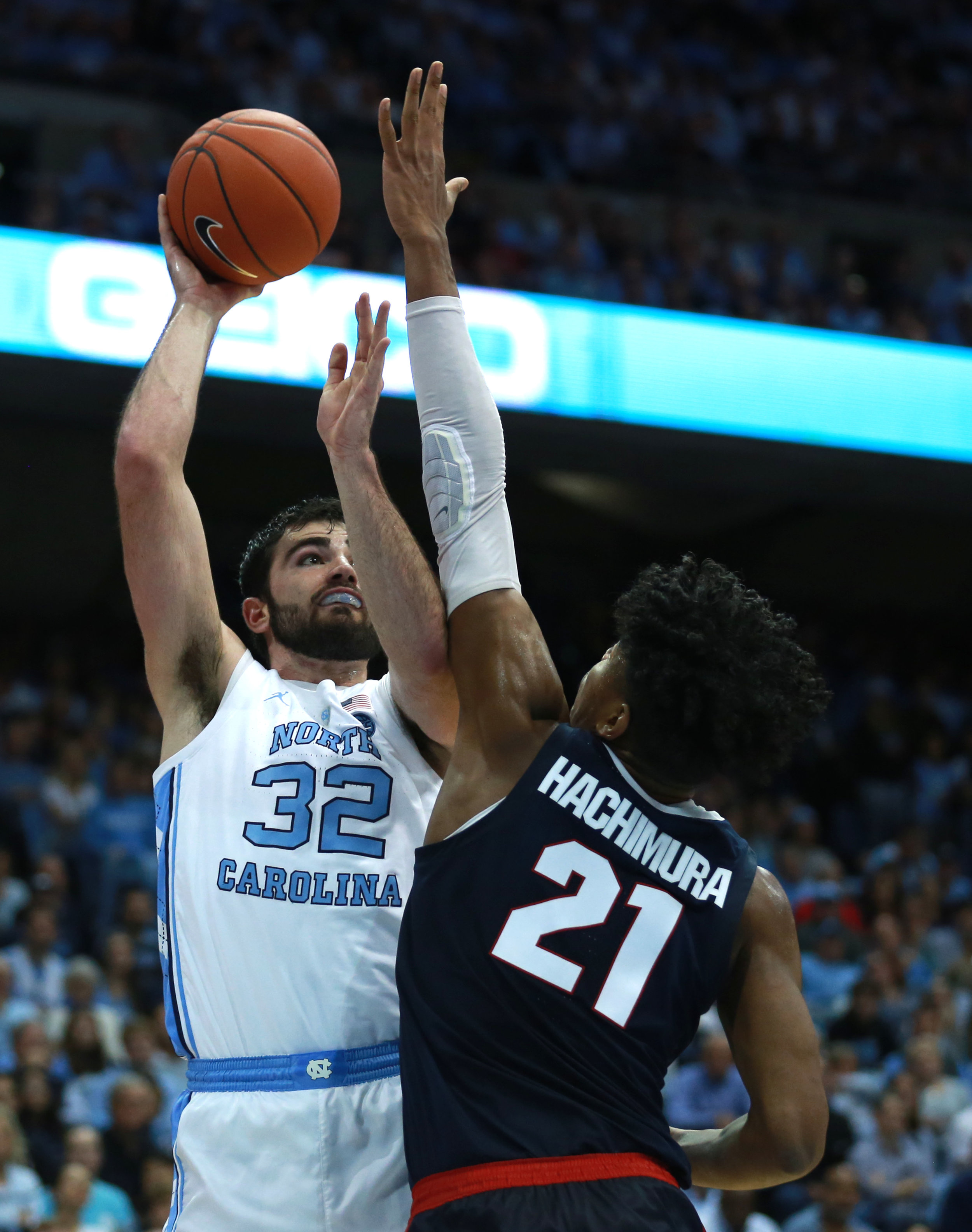 Luke Maye returned to form with a 20-point night, including scoring his 1000th point as a Tar Heel. But his 16 rebounds is where his impact was most felt on the court. | Photo by Alex Kormann