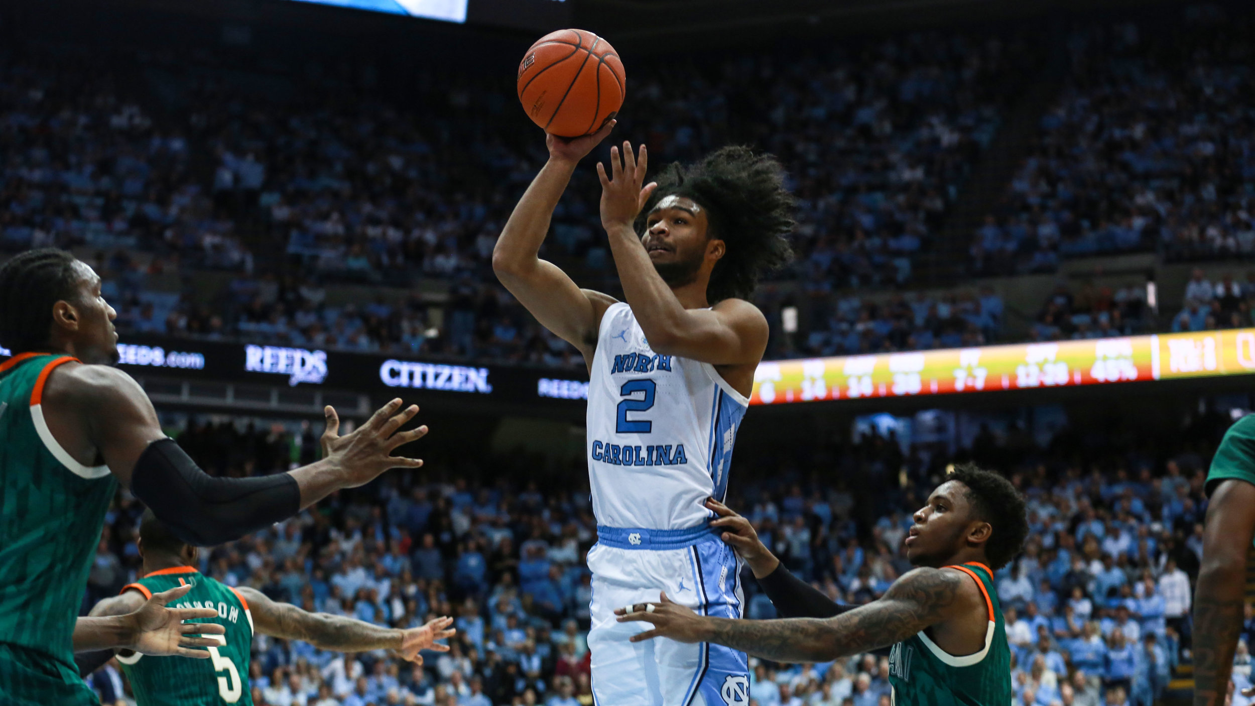 Coby White tied his career high with 33-points on Saturday. The freshman also dished six assists and drained seven three-pointers on the afternoon. | Photo by Alex Kormann