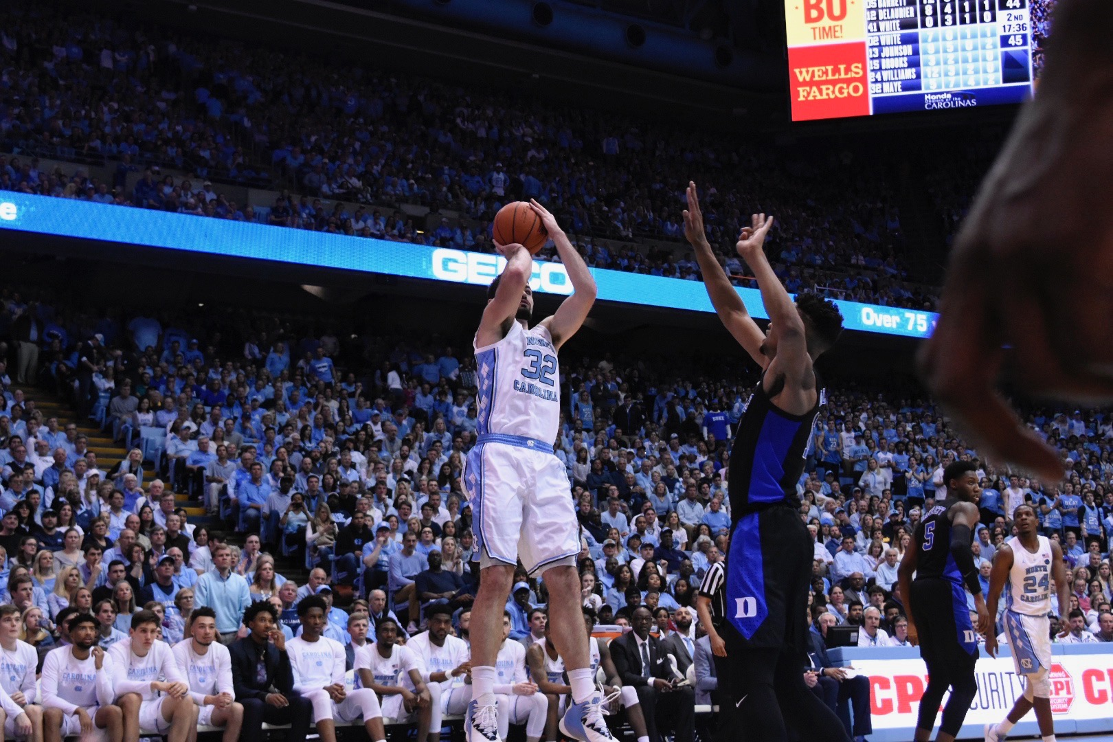 Luke Maye fadesaway for a shot against Duke on Saturday. The senior forward only scored seven points, but contributed in big ways elsewhere, with 16 rebounds and seven assists. | Photo by Turner Walston