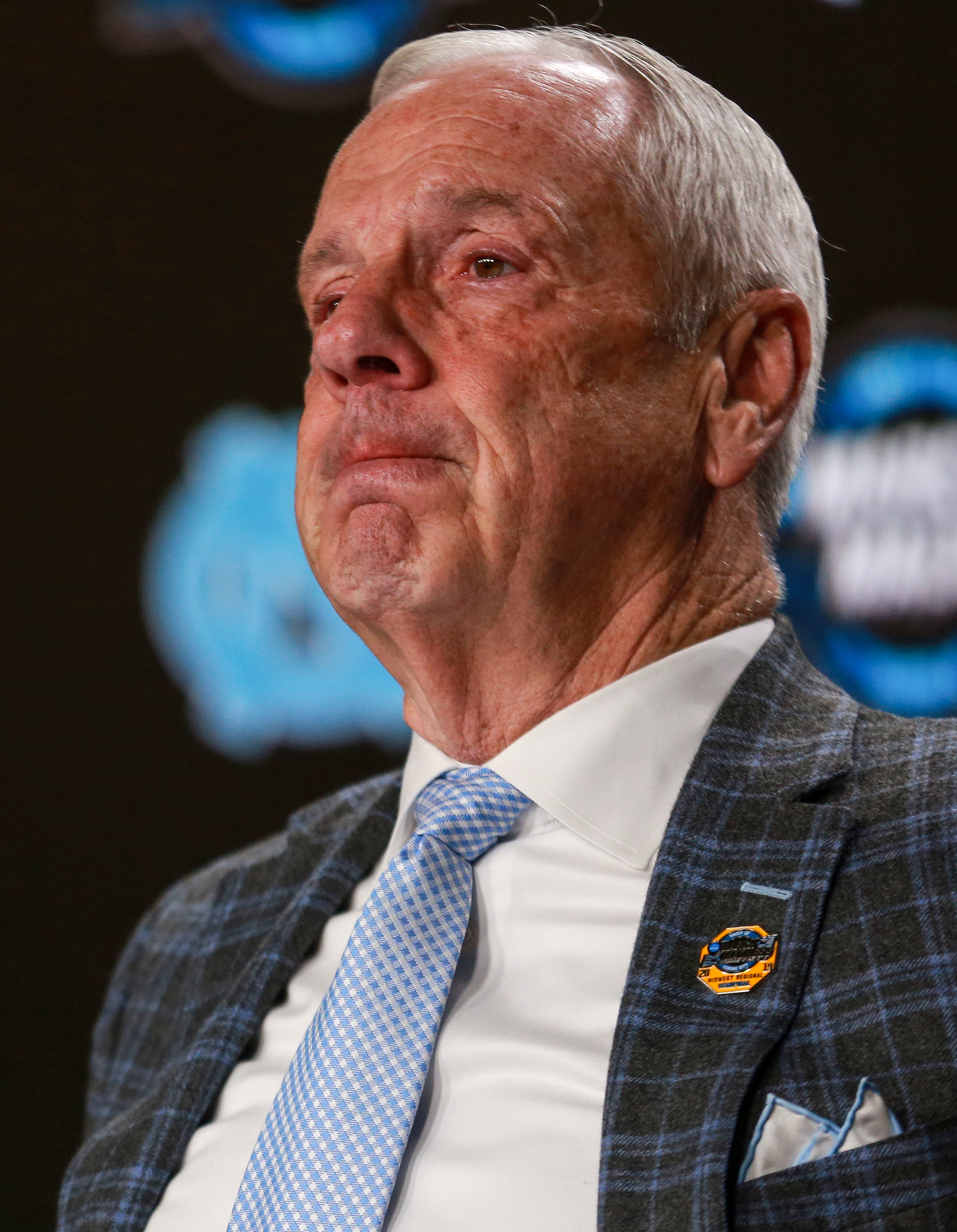 Roy Williams was understandably upset on the podium following UNC's Sweet 16 loss to Auburn. The class of 2019 (Williams and Maye) finished as the third most winning class in Carolina Basketball history. | Photo by Alex Kormann