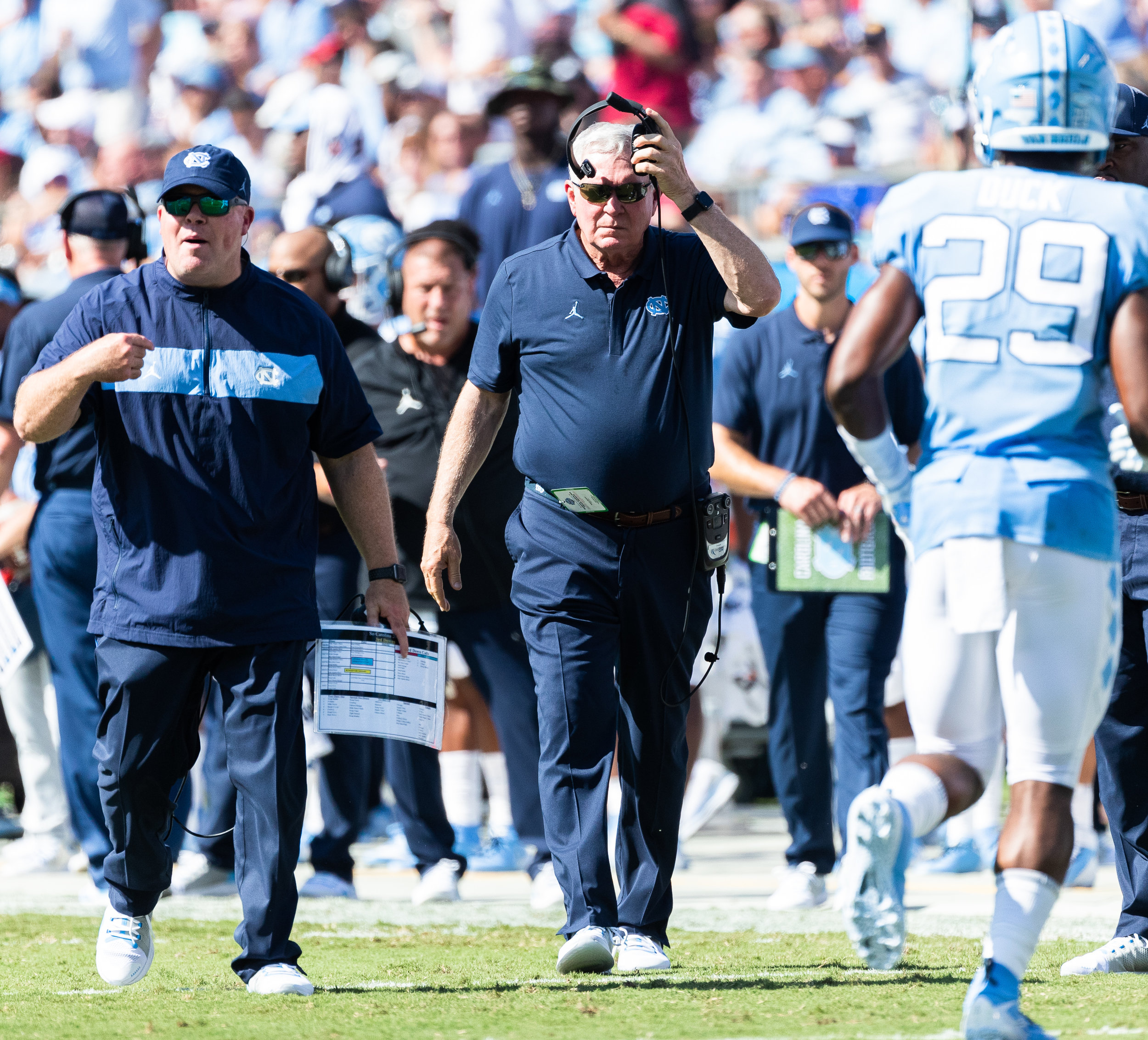 A season-opening win against South Carolina has changed expectations for Mack Brown and the 2019 Tar Heels.  Photo by Smith Hardy