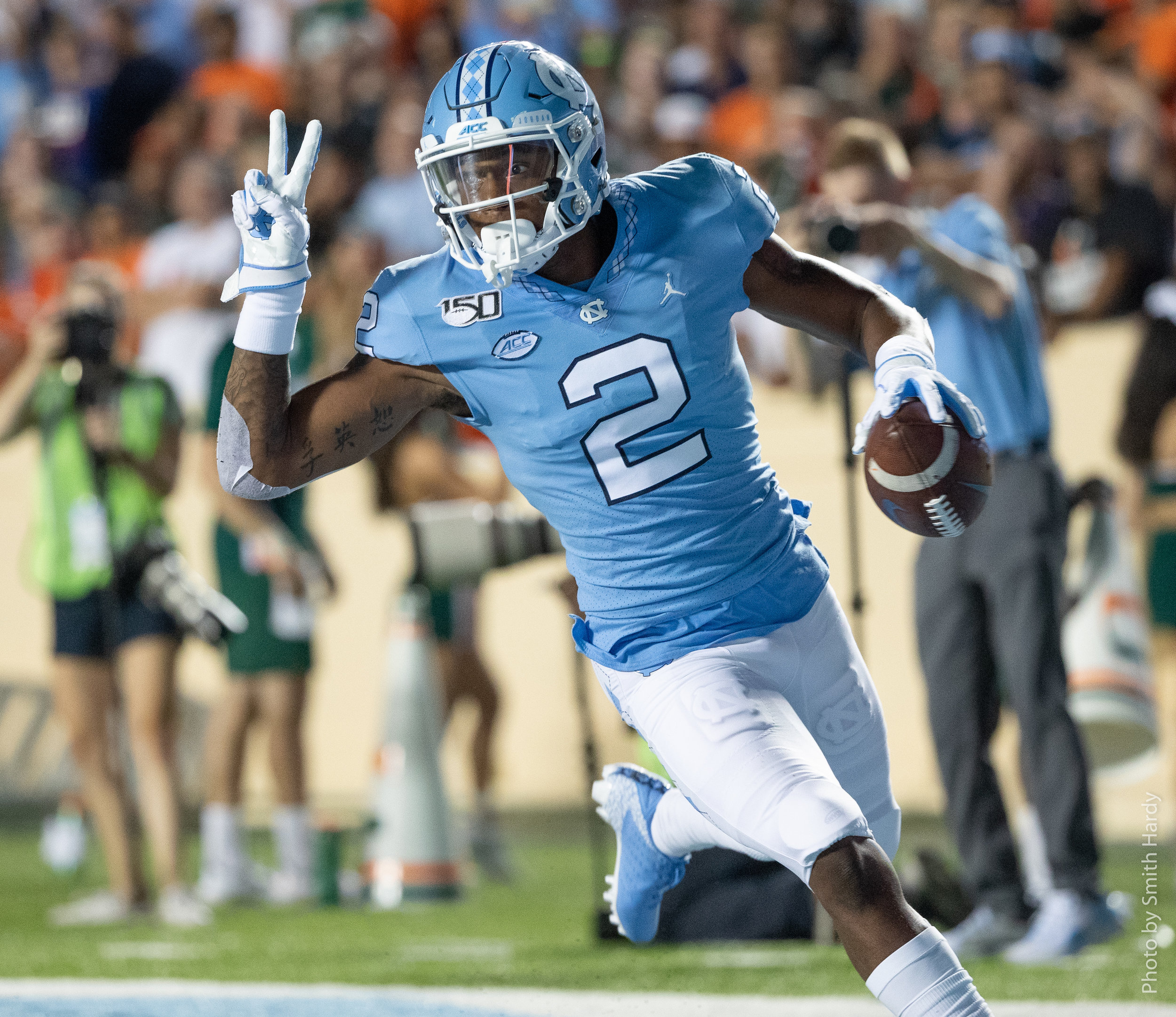 Dyami Brown's 62-yard touchdown gave UNC a 10-0 lead.  Photo by Smith Hardy