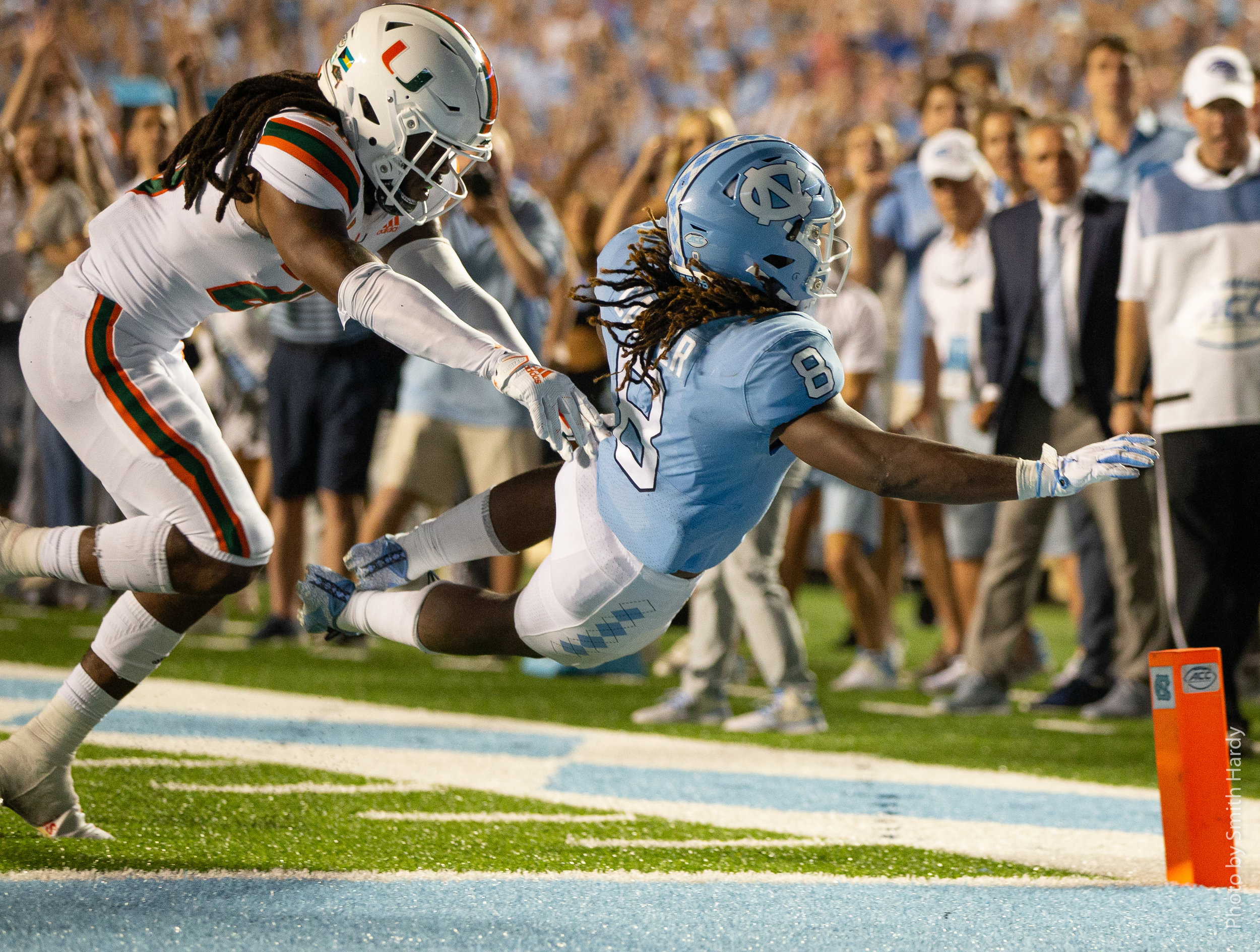 Michael Carter's 2-point conversion capped a game-winning drive.  Photo by Smith Hardy