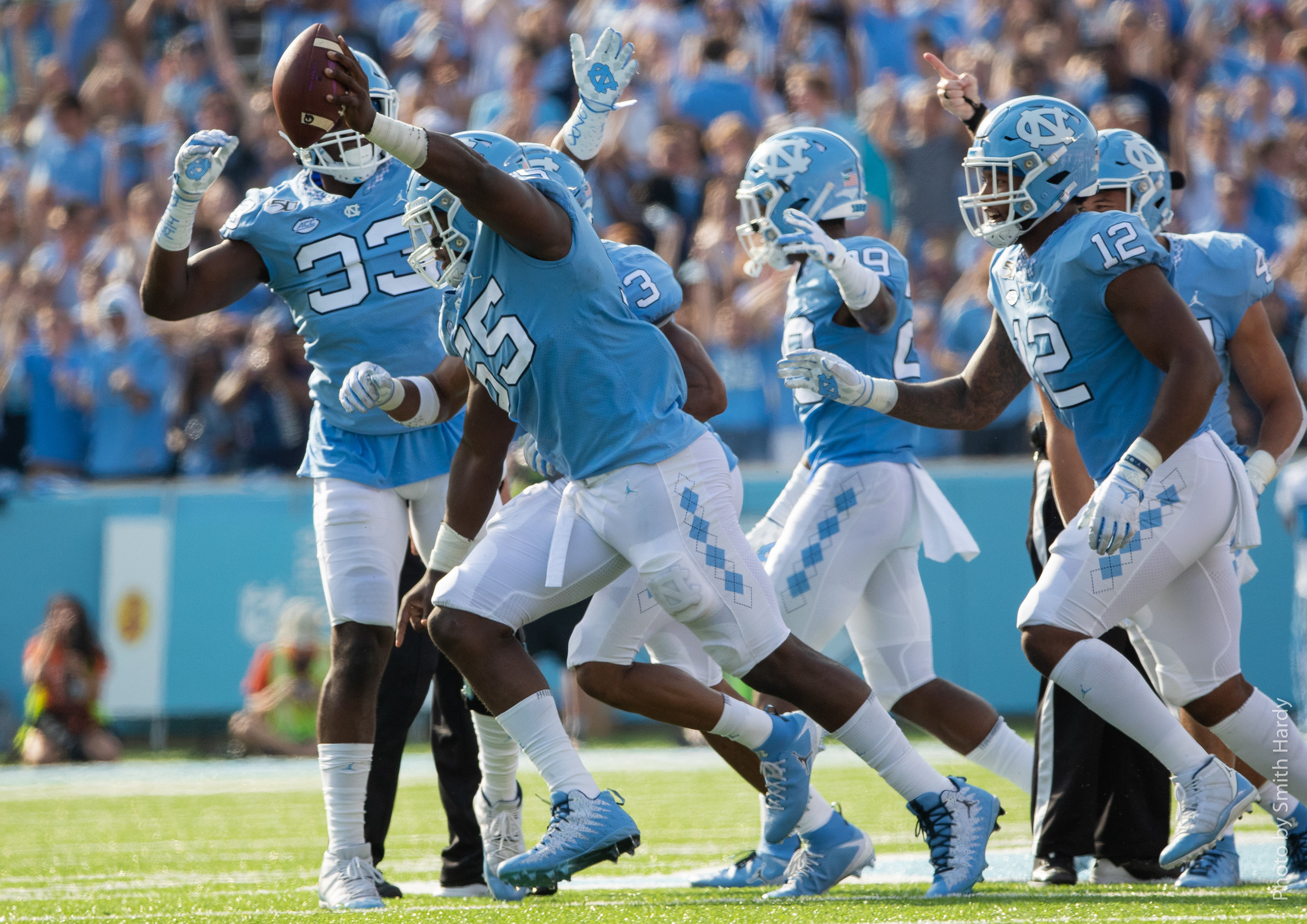 Jason Strowbridge recovered a fumble early to spark Carolina's offense.  Photo by Smith Hardy.