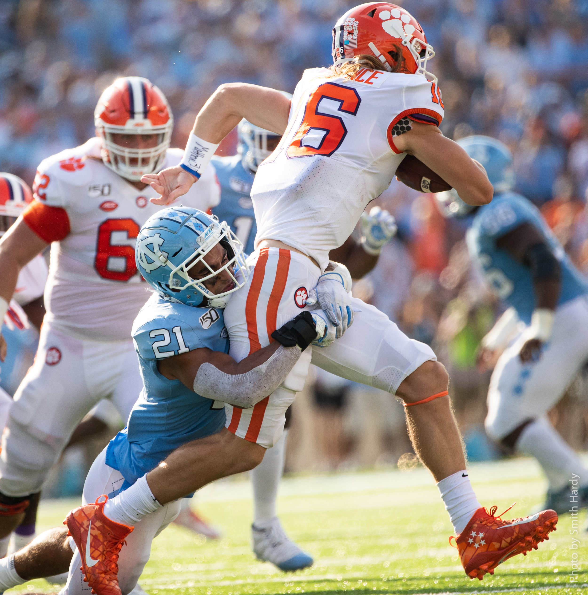 Chazz Surratt had UNC's only sack of Trevor Lawrence.