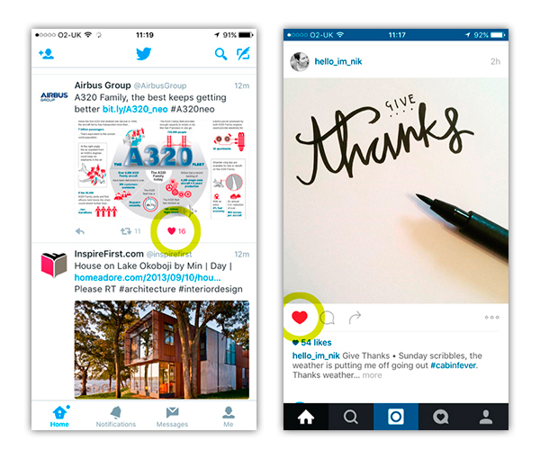 Twitter / Instagram 'like' comparison using heart symbol. Thanks to  Hello I'm Nik Design  for use of her Instagram post!
