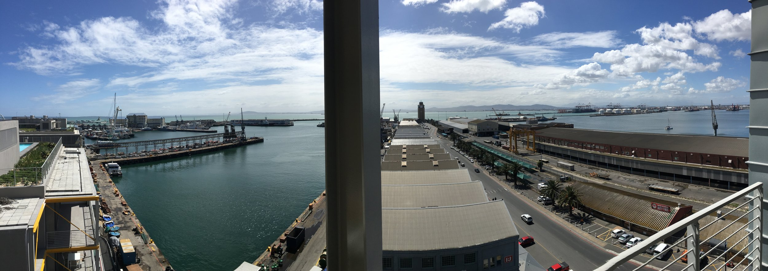 This image was taken from the main balcony of the apartment and looks over the V & A Waterfront and harbour.