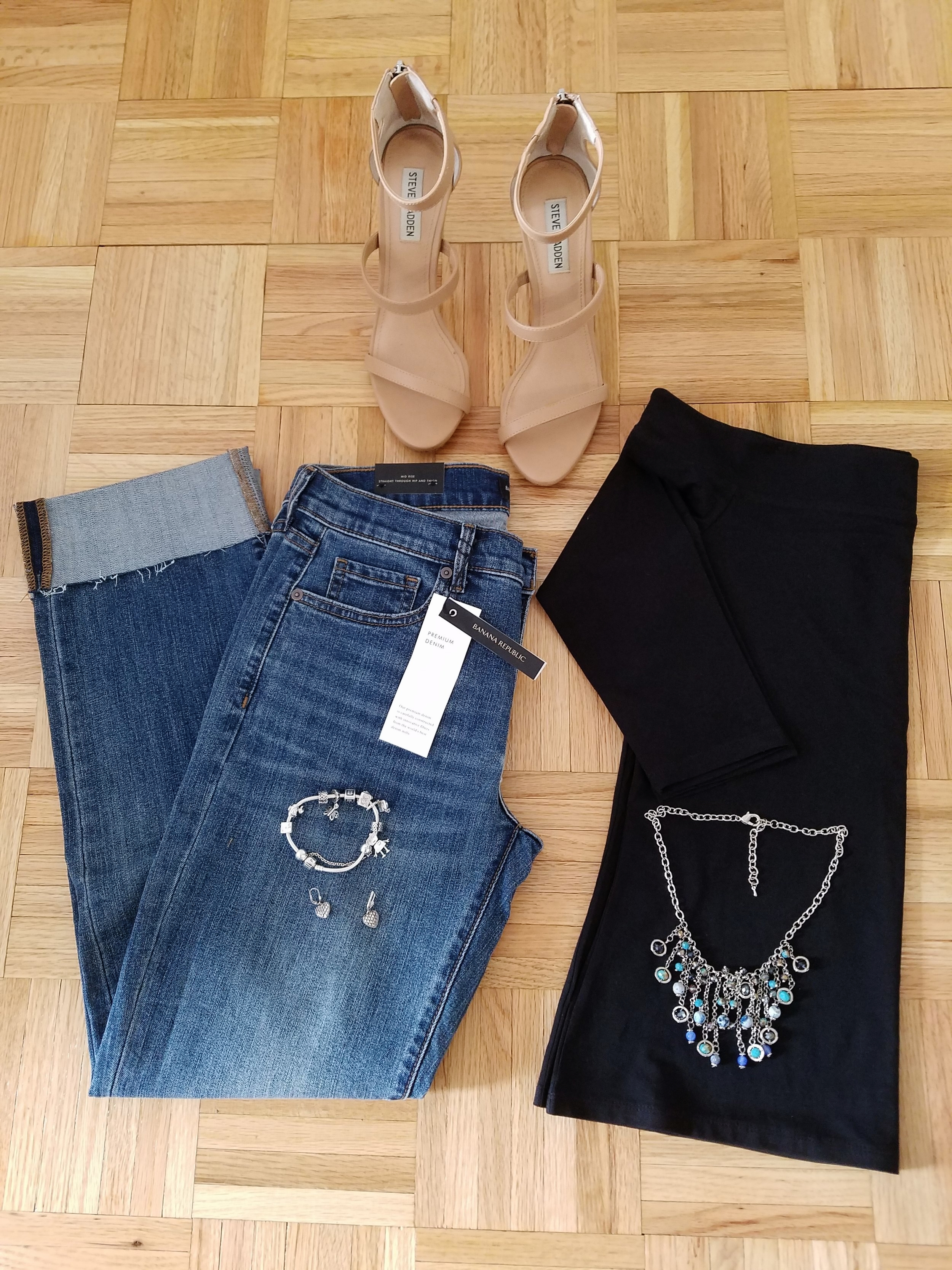 Black Off the Shoulder Top with Cuffed Girlfriend Jeans Steve Madden Feelya Sandal in Nude and Some Bling.jpg