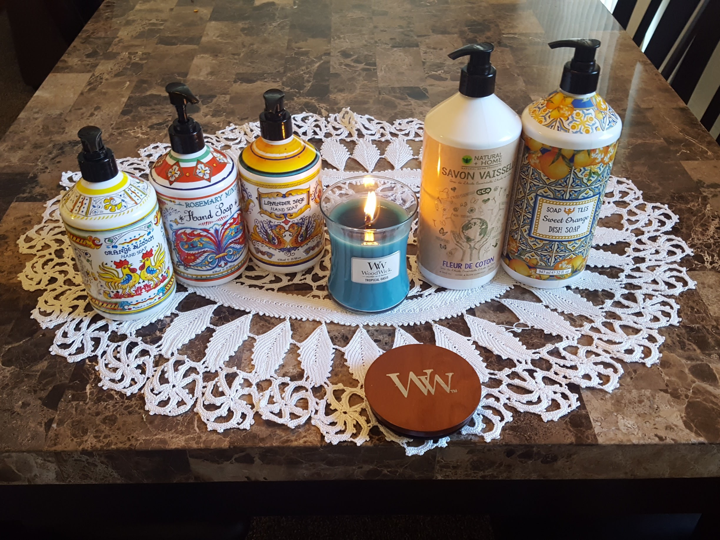 Fancy Hand Soap and Dish Liquid and Wood Wick Candle