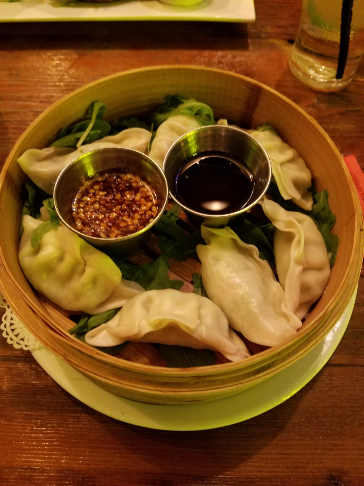 Broadstone Steamed Vegetable Dumplings with sweet chili sauce and citrus sesame soy sauce.