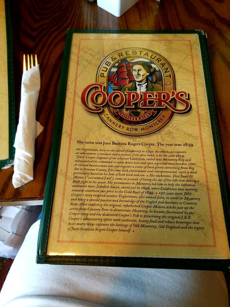 Cooper's Pub & Restaurant Menu
