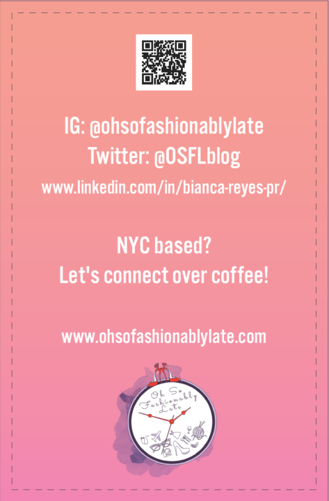 This is the back (front according to Moo) of my business cards that I'll be using to network at #BlogHer19.