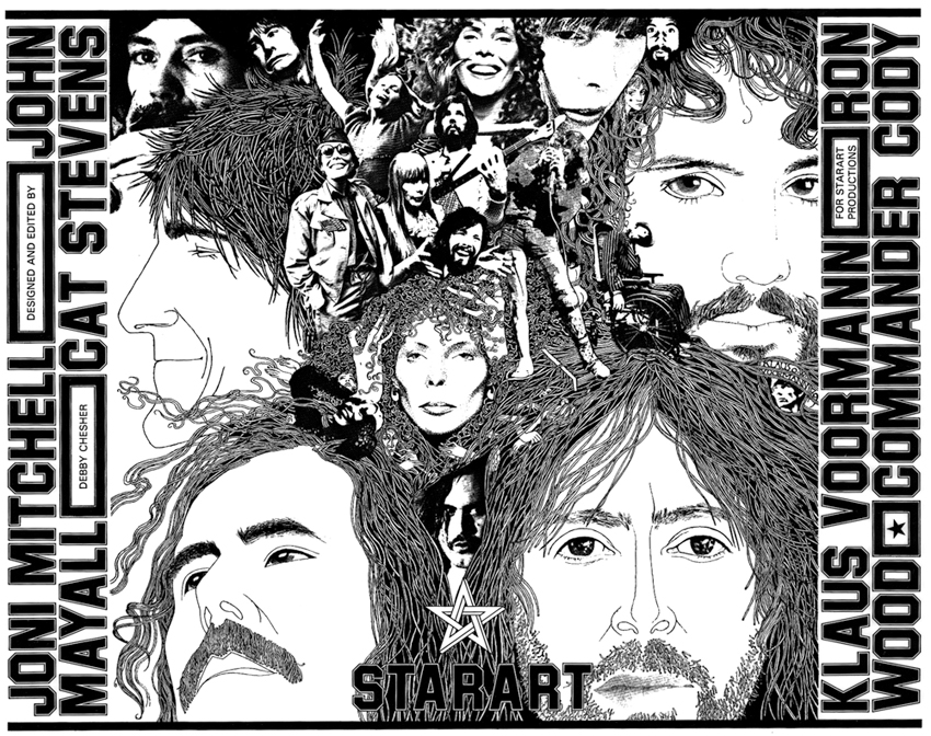 STARART  - A collector's coffee table art book exhibiting the fine art of music icons Joni Mitchell, John Mayall, Ron Wood, Klaus Voormann, Cat Stevens and Commander Cody, along with in-depth interviews and comment from the artists about their art. Only 1 available.  $500