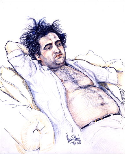 RON WOOD |   BELUSHI ON PLANE KILLERS  - 20in x 16in lithograph print. Only 2 available.  $75