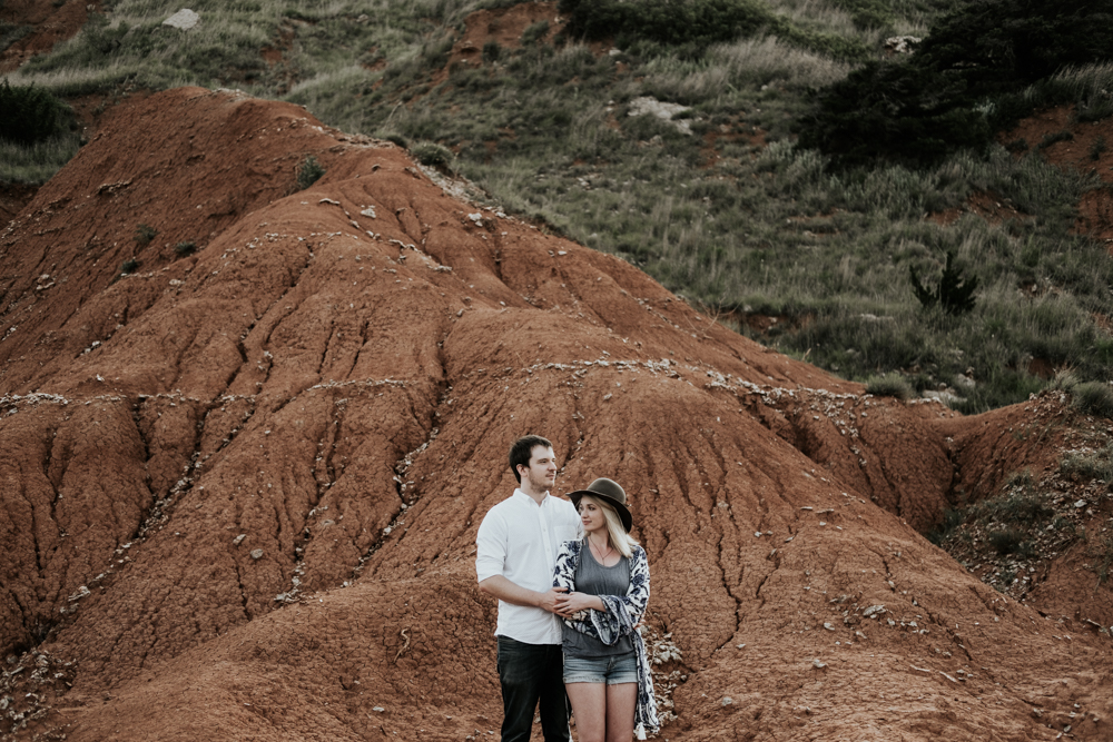 Engagement Photographer, Couples Adventure Session in Gloss Mountain State Park Photographer