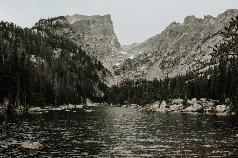 Copy of Couples Engagement Adventure Session at Dream Lake in Rocky Mountain National Park, Colorado