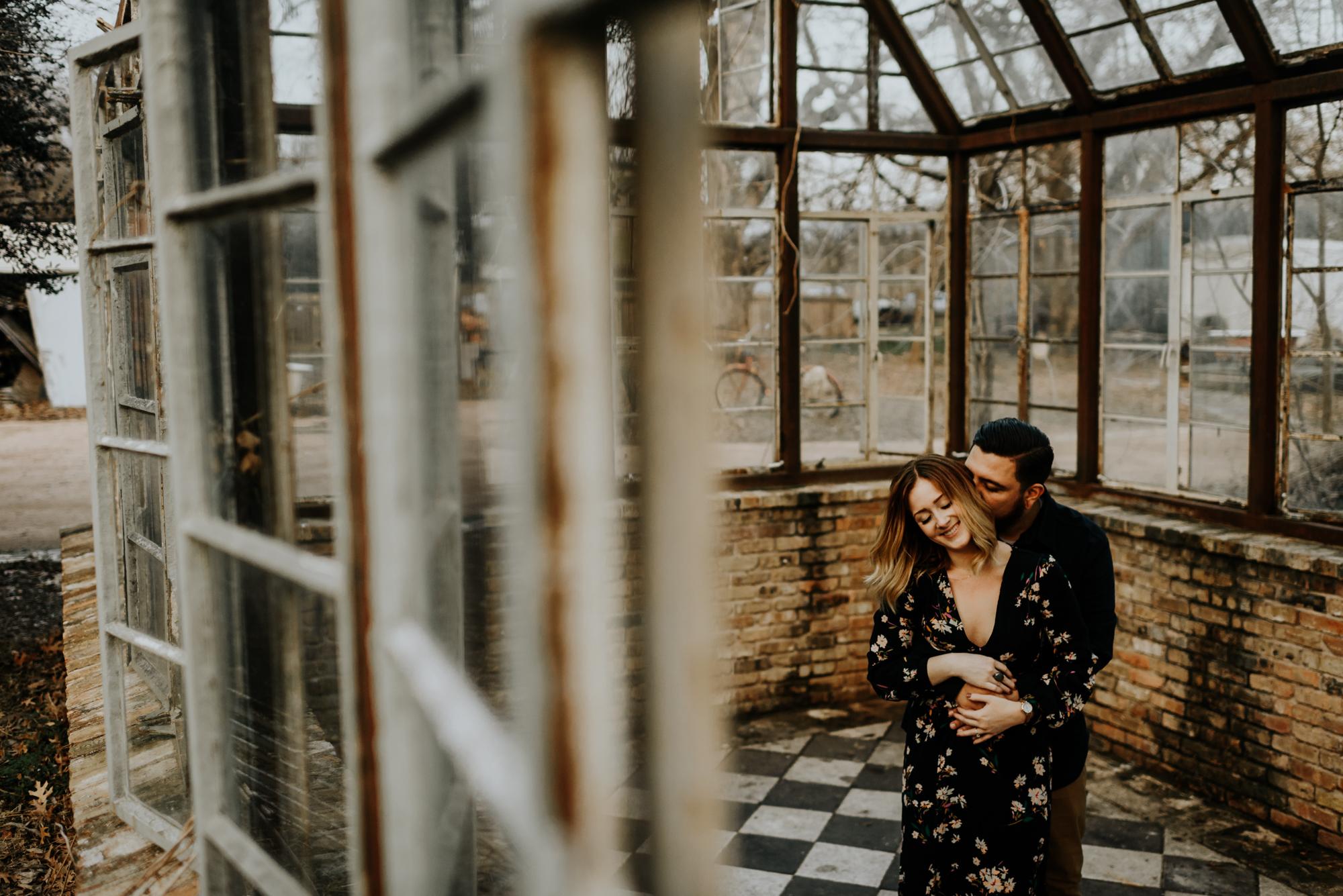 Adventurous Engagement Photographer at Sekrit Theater in Austin, Texas