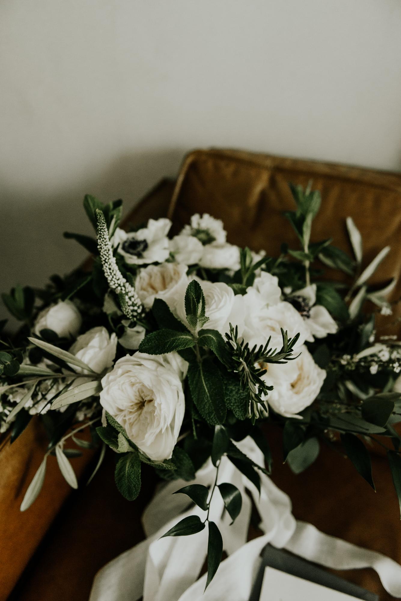 Modern Intimate Wedding Bride Bouquet and Details in Austin, Texas