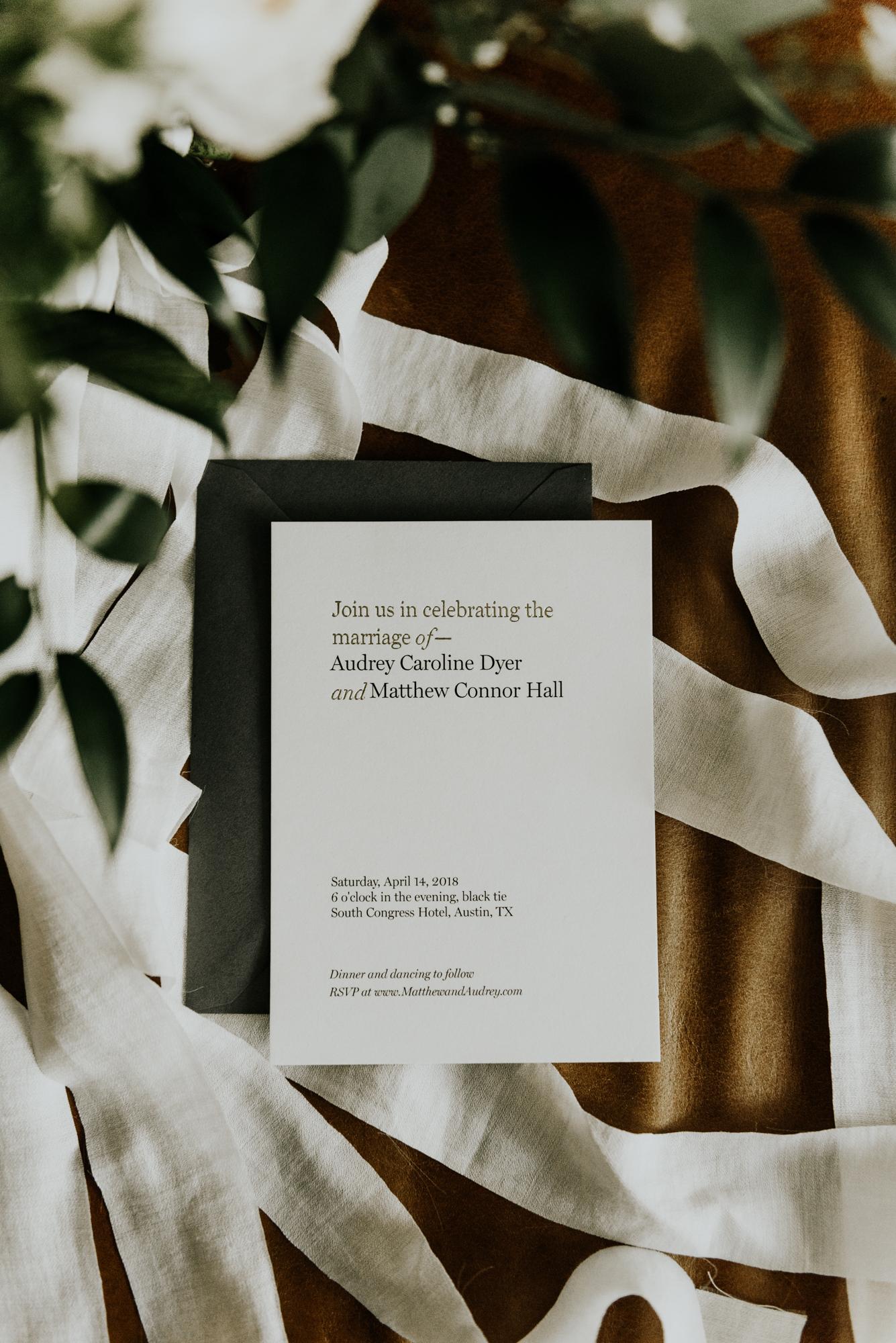 Modern Intimate Wedding Invitation stationary details in Austin, Texas