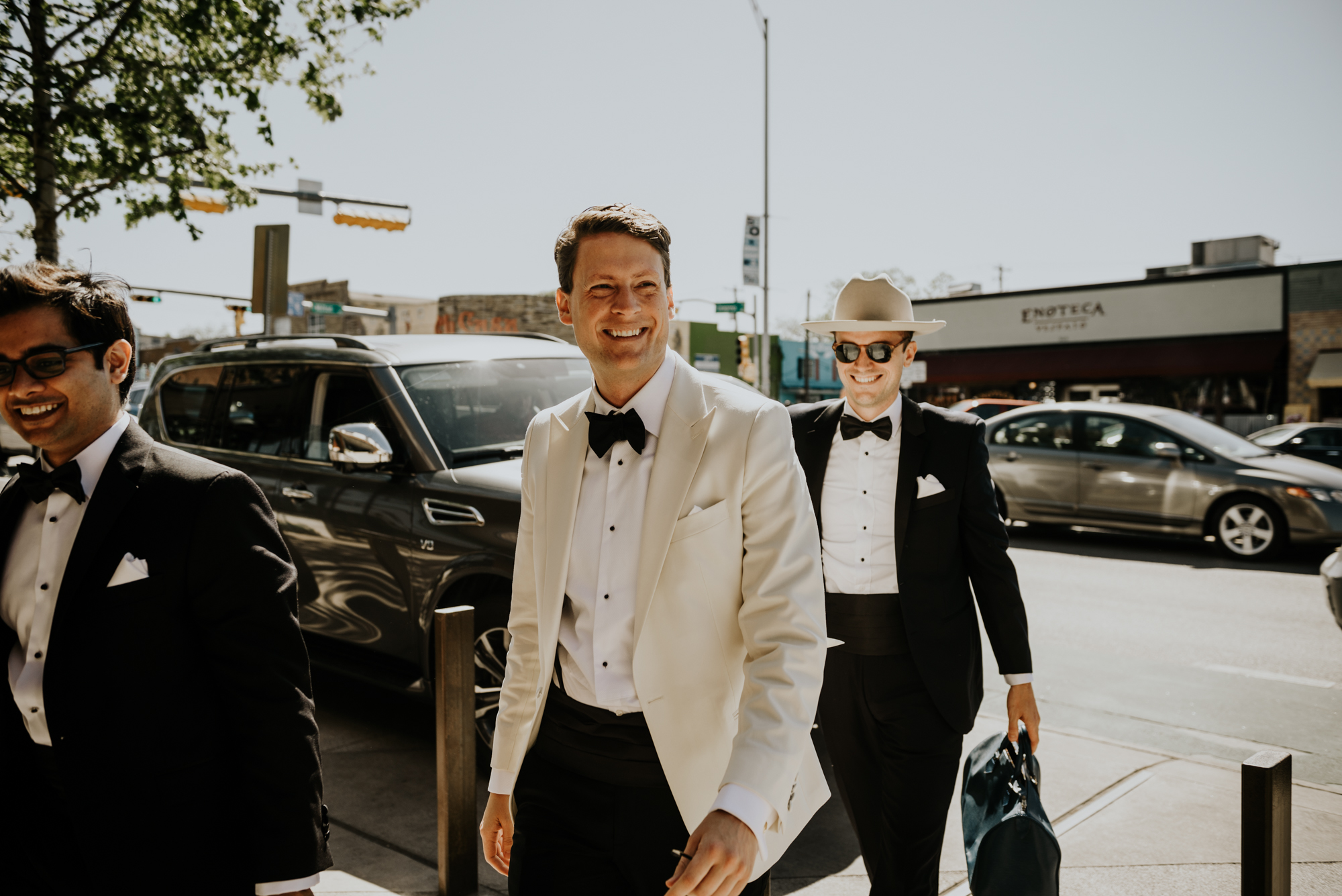 Groom and friends during an Intimate Wedding at South Congress Hotel in Austin, Texas