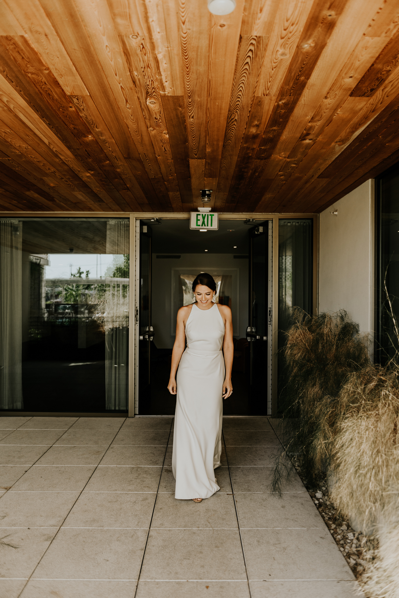 Bride before first look Intimate Wedding at South Congress Hotel in Austin, Texas