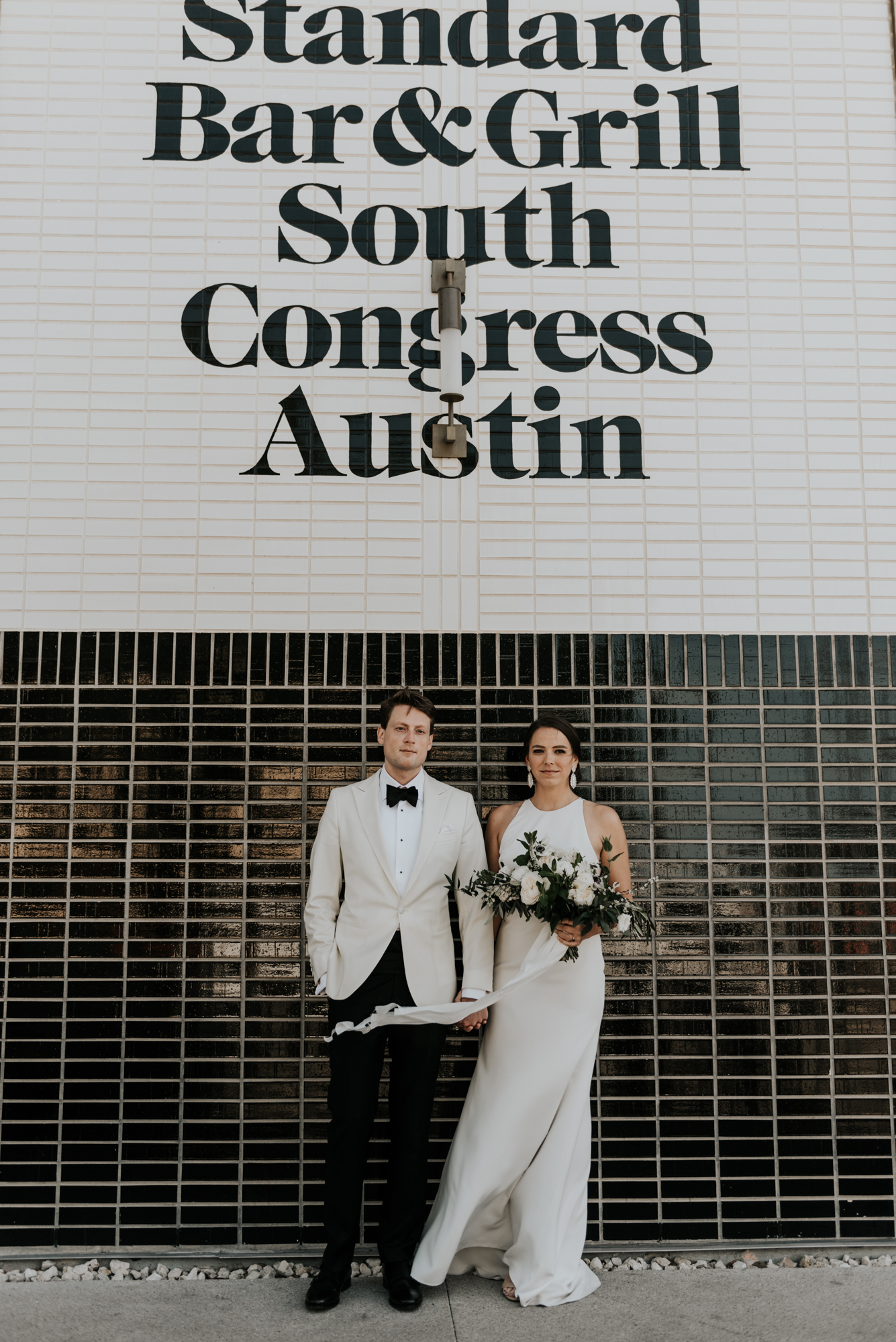 Bride and Groom Intimate Wedding day Portraits at South Congress Hotel in Austin, Texas