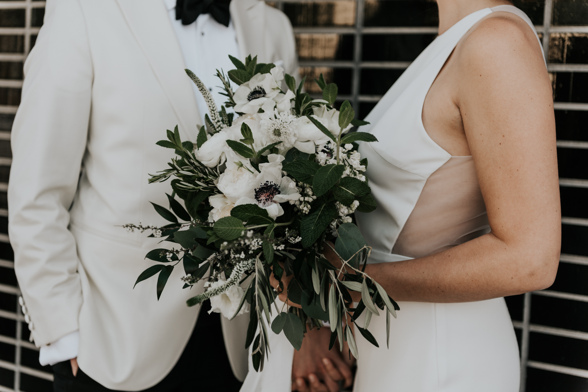 Intimate Wedding day Bouquet Details at South Congress Hotel in Austin, Texas