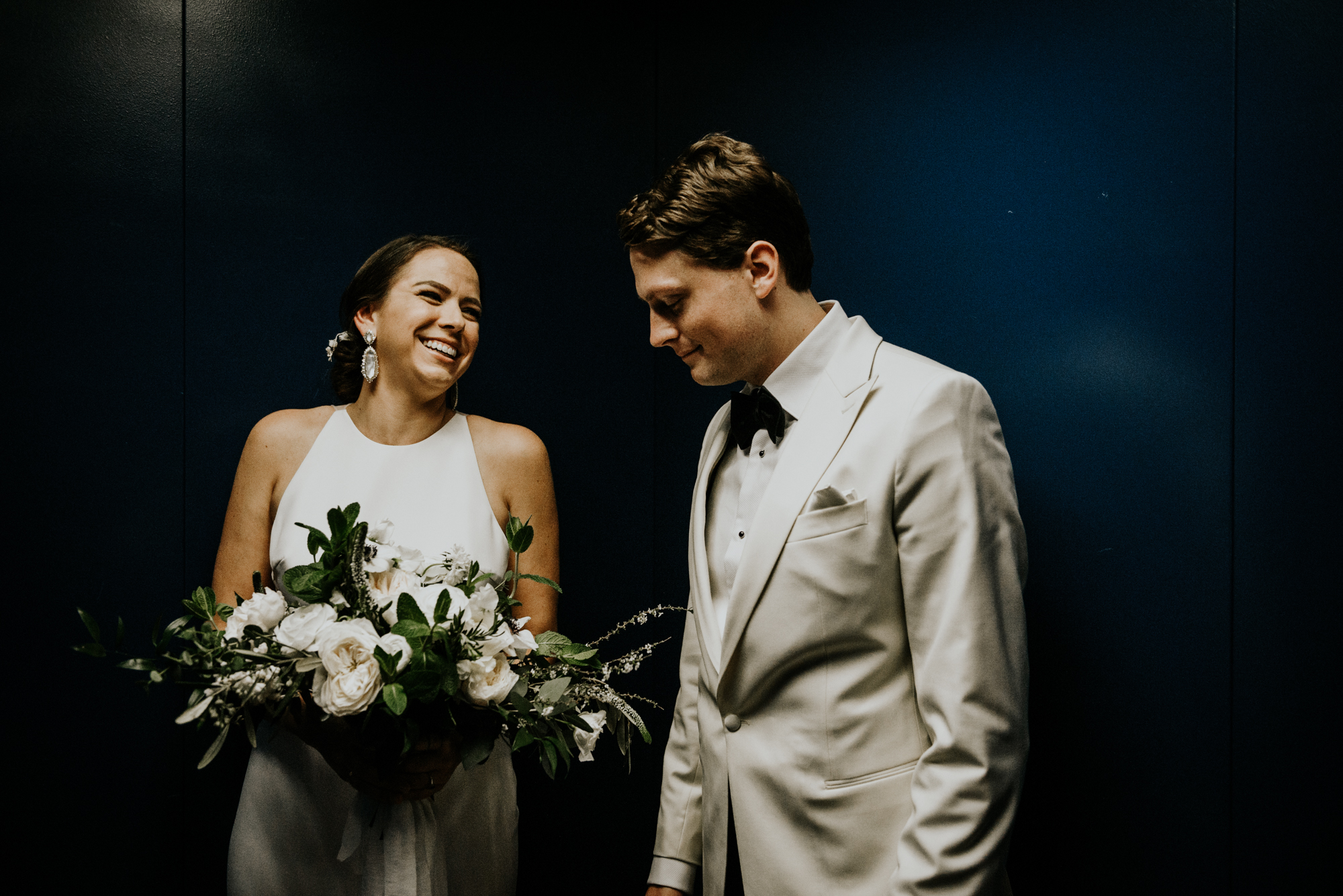 Happy Intimate Wedding day Portraits at South Congress Hotel in Austin, Texas