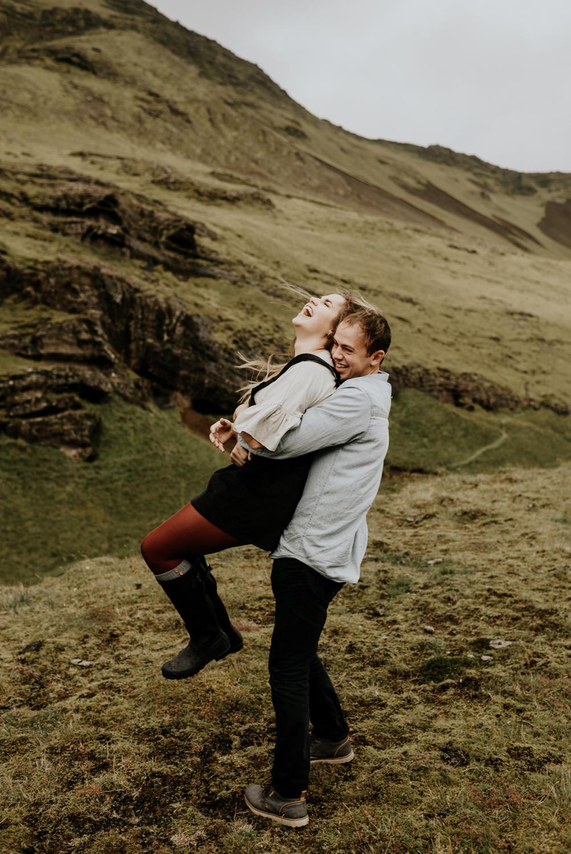 Seljalandsfoss Falls Wedding Anniversary Photo Session in Iceland