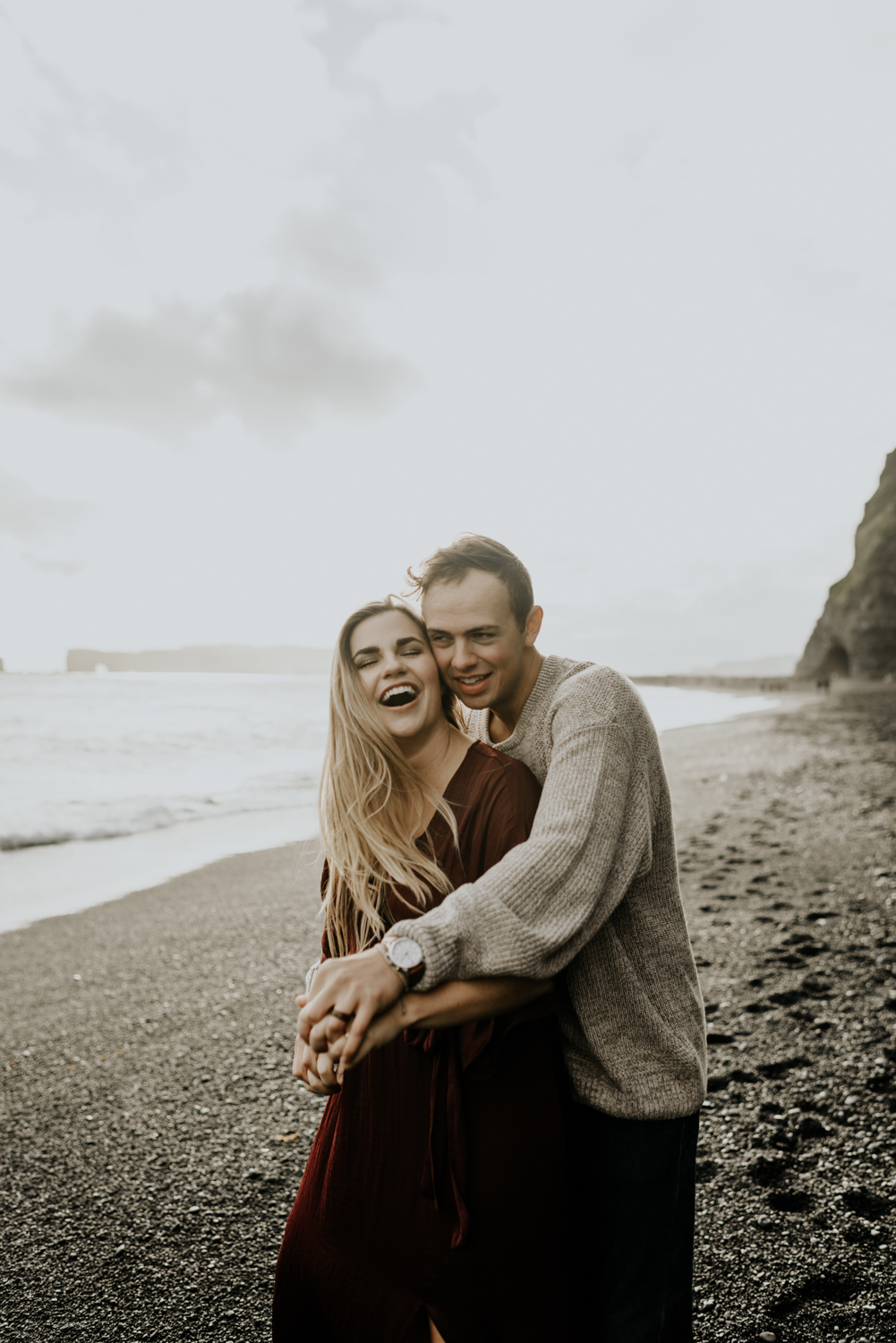 Black Sand beach Adventurous and Romantic Couples Session in Vik, Iceland