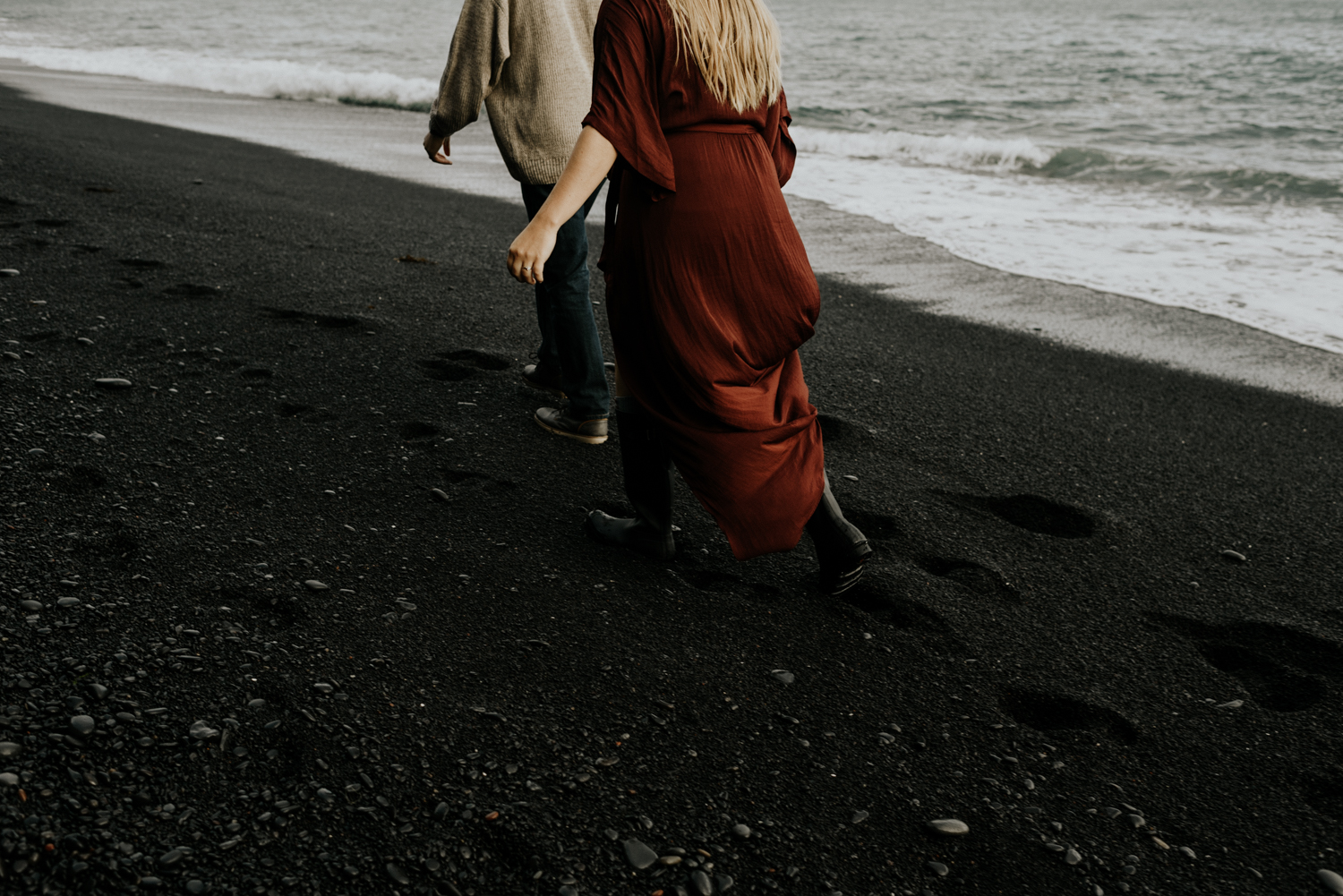 Black Sand beach Adventurous and fun Couples Session in Vik, Iceland