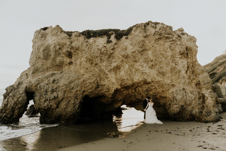Surprise Intimate Destination Wedding at El Matador Beach in Malibu, California