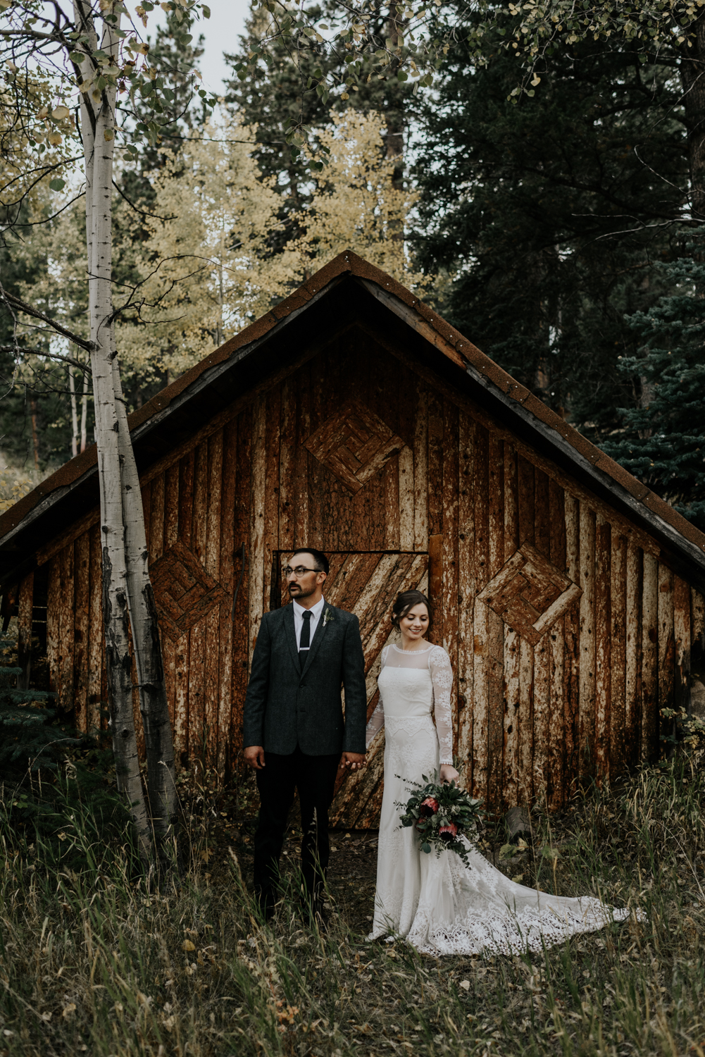 Intimate Mountain Wedding Bride and Groom Photos in Meadow Creek, Pine Colorado