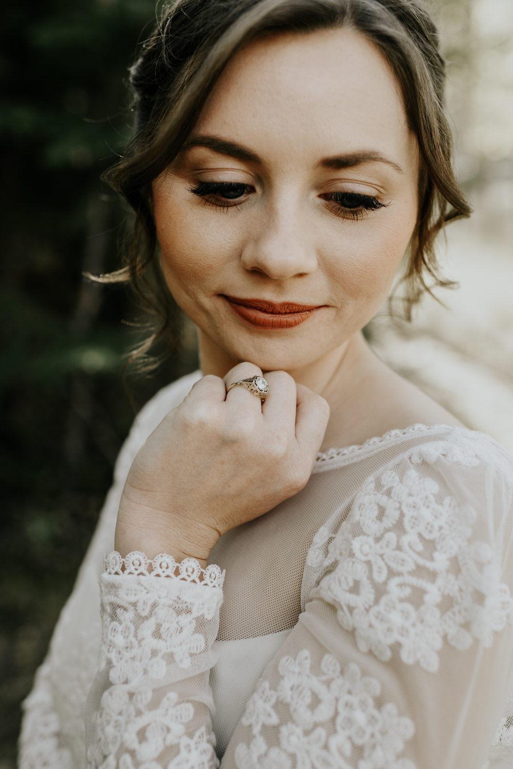 Intimate Mountain Wedding Bride Photos in Meadow Creek, Pine Colorado