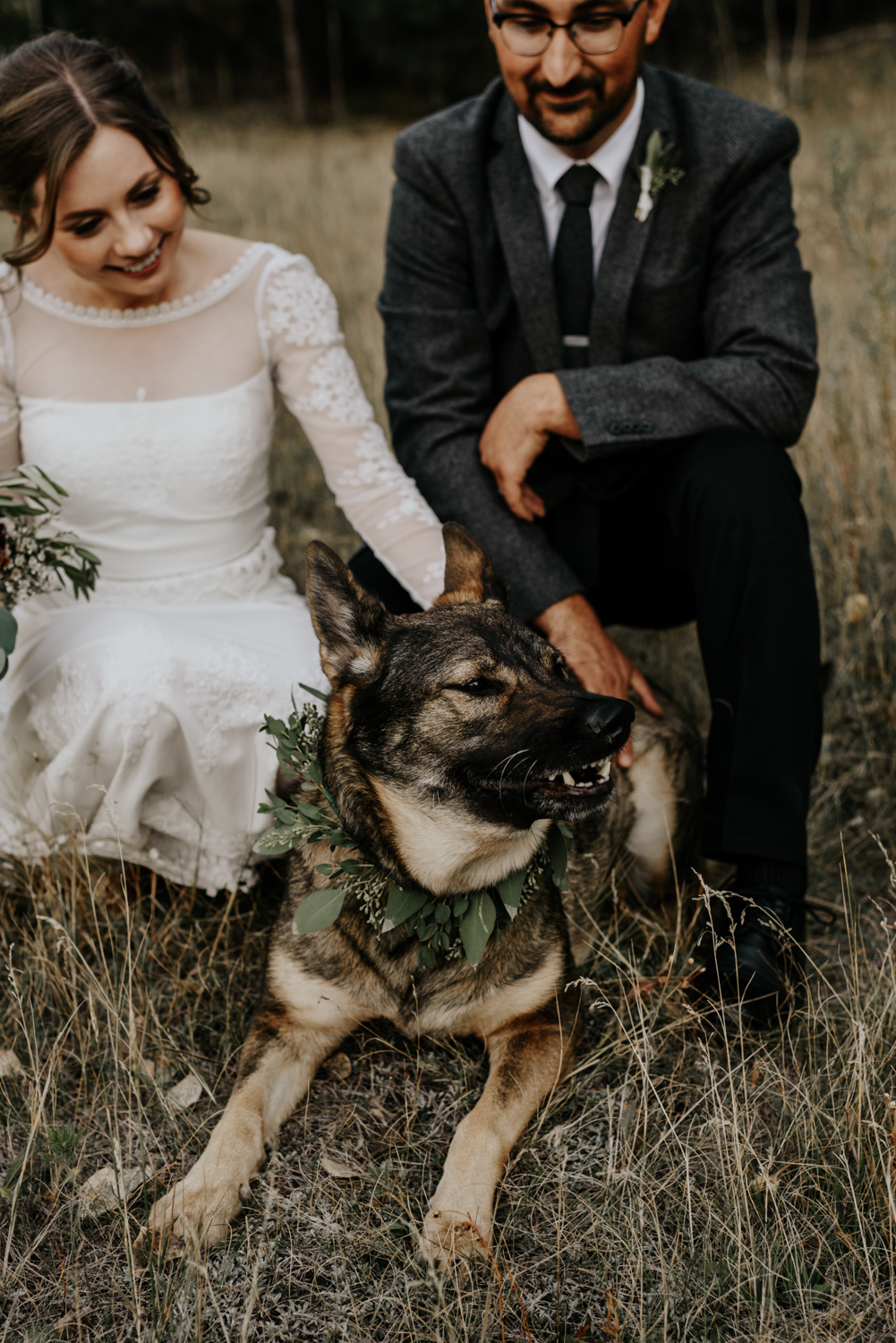 Intimate Mountain Wedding Photos with Dog in Meadow Creek, Pine Colorado