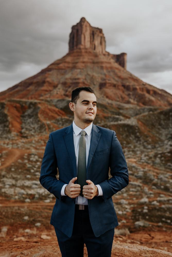 Grooms Wedding Attire, Moab, Utah Elopement
