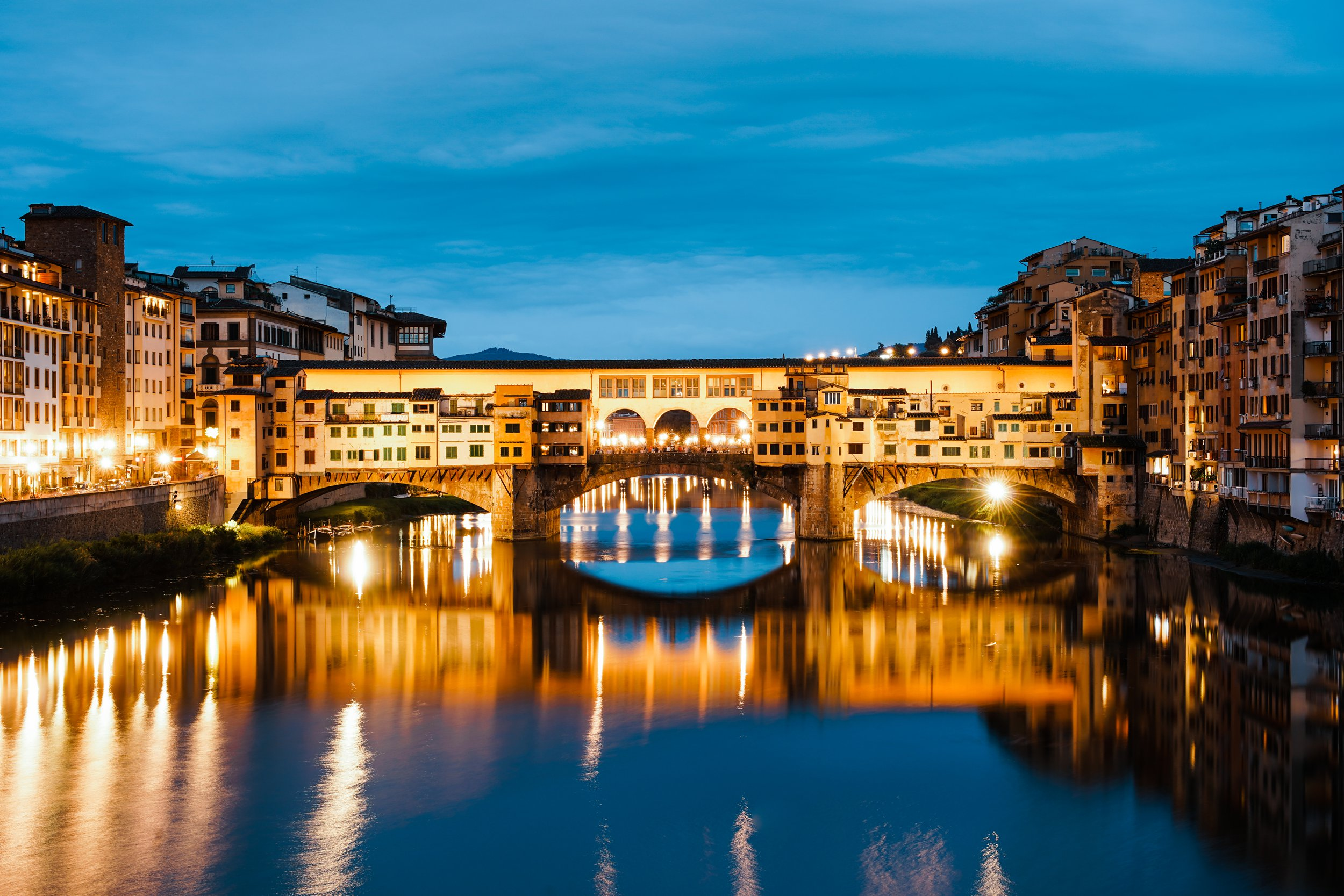 Ponte Vecchio. Florence, Italy. June 2018. Shot on Sony A7III and Sony 24-70mm f4 lens. Shot at 54mm. Shutter speed 13 sec. Aperture f/11. ISO 100.