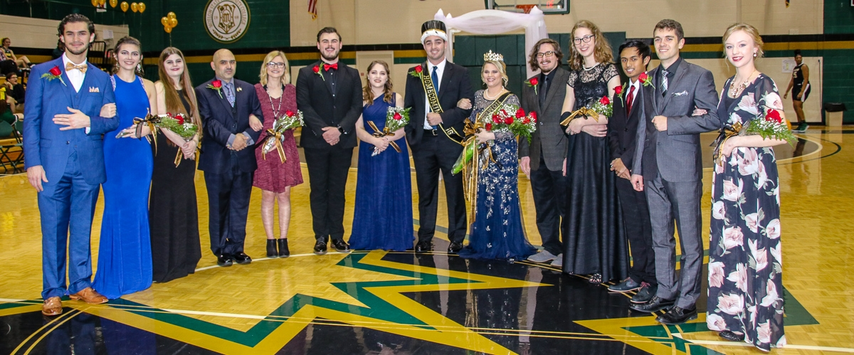 From left to right: Samir Qattea, Ava Anderson, Mollie McDonald, Jose Rodriguez, Alexis Rowland, Trevor Ivey-Bodman, Lillie Hosler, J.D. Webb (Homecoming King), Hannah Johnson (Homecoming Queen), Ross Gates, Emily Yardumian, Bien Espera, Kyle Davis, Lauren Clardy. (Not pictured are Laura Rojas and Cameron Droddy)