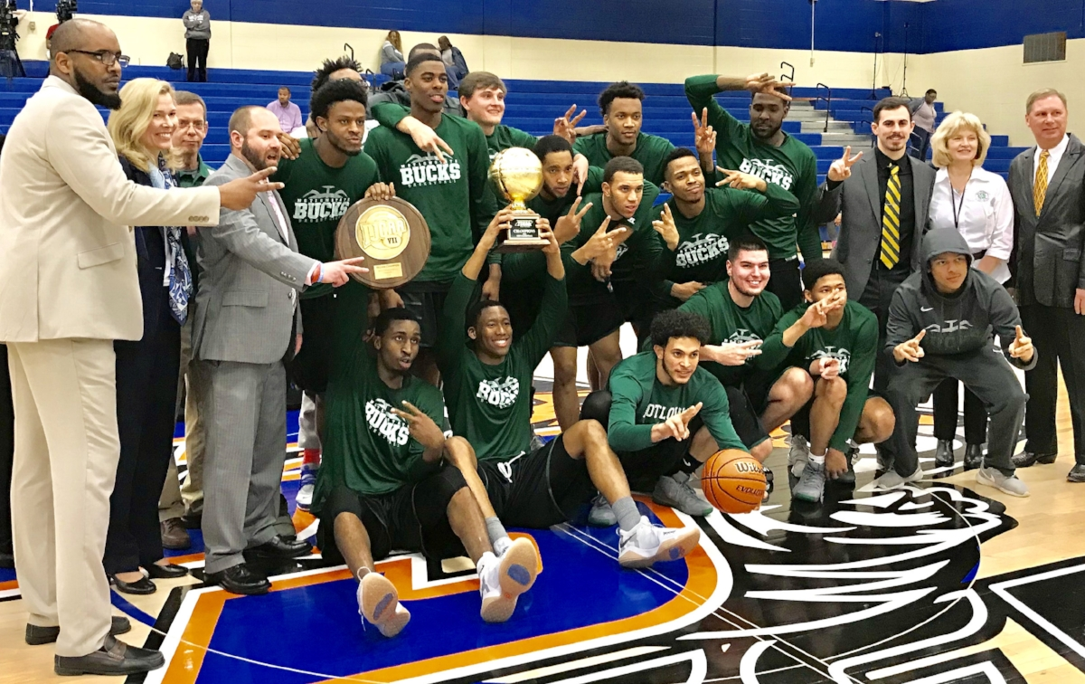 The Motlow State Bucks celebrate their TCCAA/Region VII Tournament men's basketball championship Tuesday afternoon following a 78-61 win over Southwest Tennessee at Chattanooga State Community College in Chattanooga. It is the second consecutive championship for the Bucks, and earns them a spot in the upcoming NJCAA national tournament, which begins March 19 in Hutchinson, Kansas.