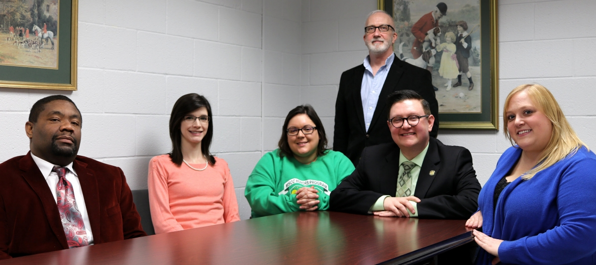 Pictured above during a recent planning session are, seated from left, Sid Hill, Moore County campus dean; Ashley Broadrick, assistant director of institutional research; Tiffany Phillips, institutional effectiveness technician; Dr. Scott Cook, vice president, quality assurance and performance funding; and Meagan McManus, languages curriculum chair; standing, Dr. William Murphy, English instructor.