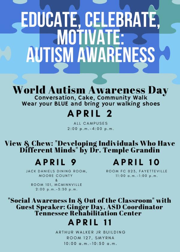 Autism awareness events at Motlow